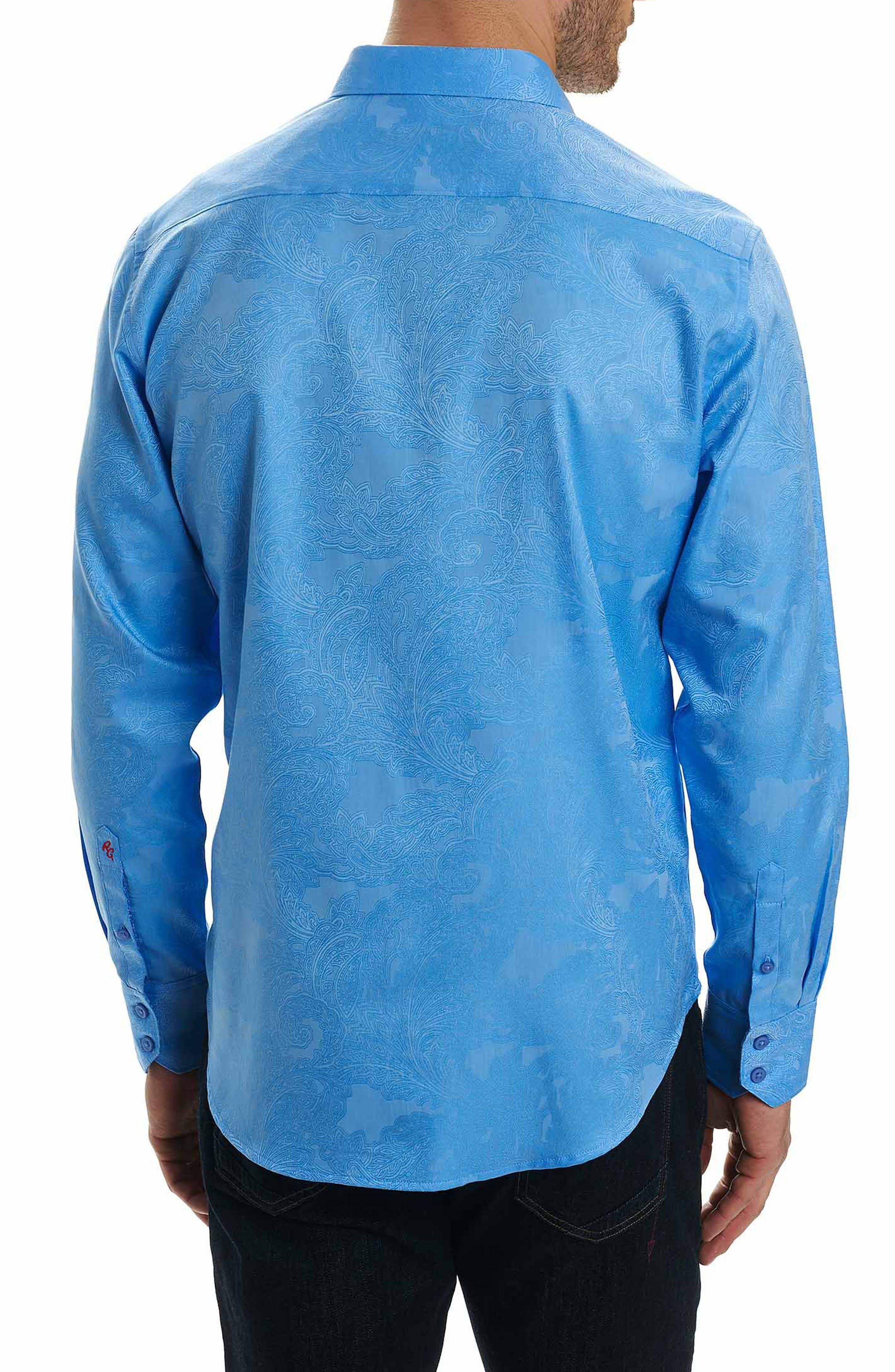 Rosendale Classic Fit Jacquard Sport Shirt,                             Alternate thumbnail 2, color,                             Light Blue