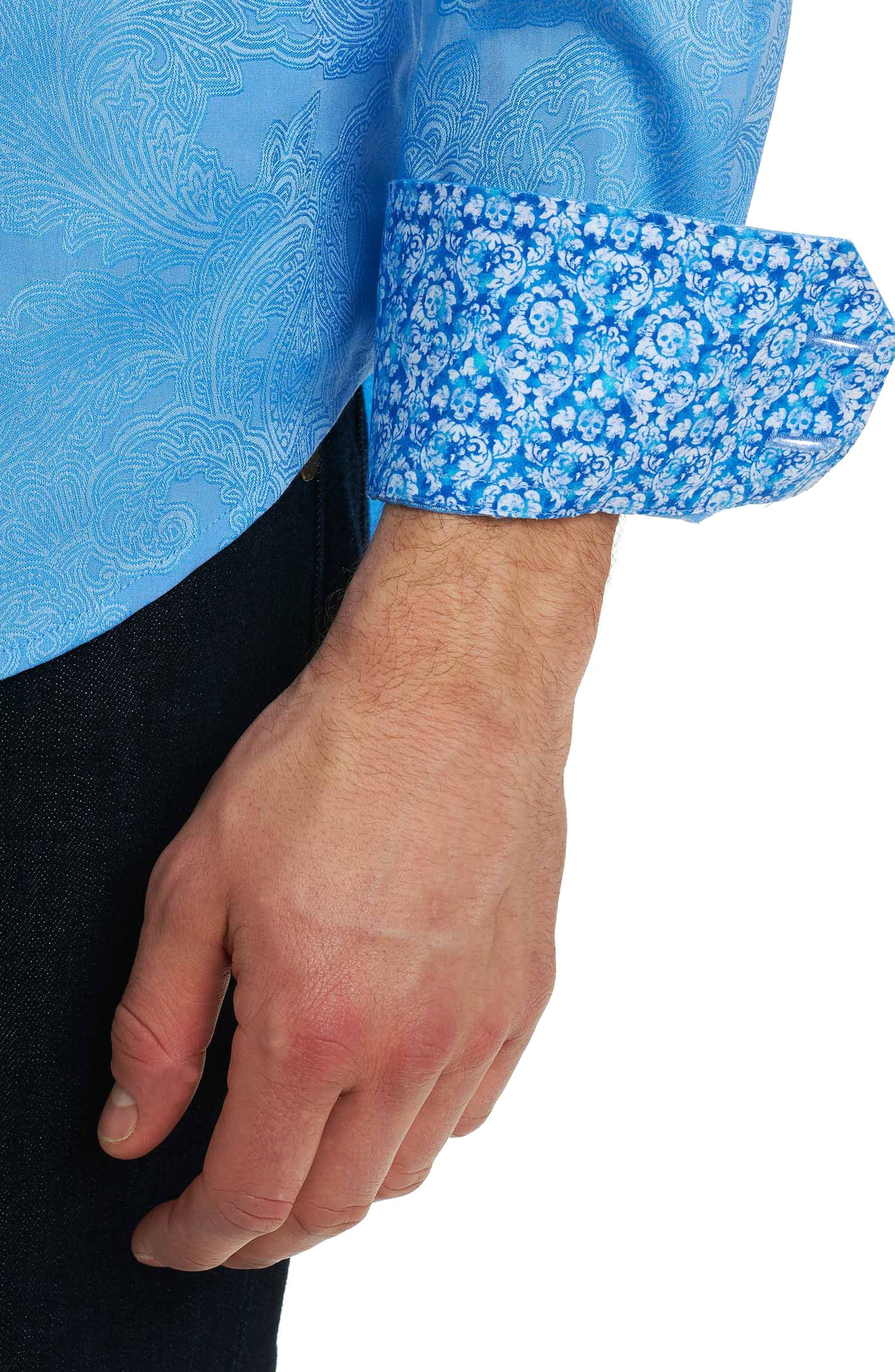 Rosendale Classic Fit Jacquard Sport Shirt,                             Alternate thumbnail 6, color,                             Light Blue