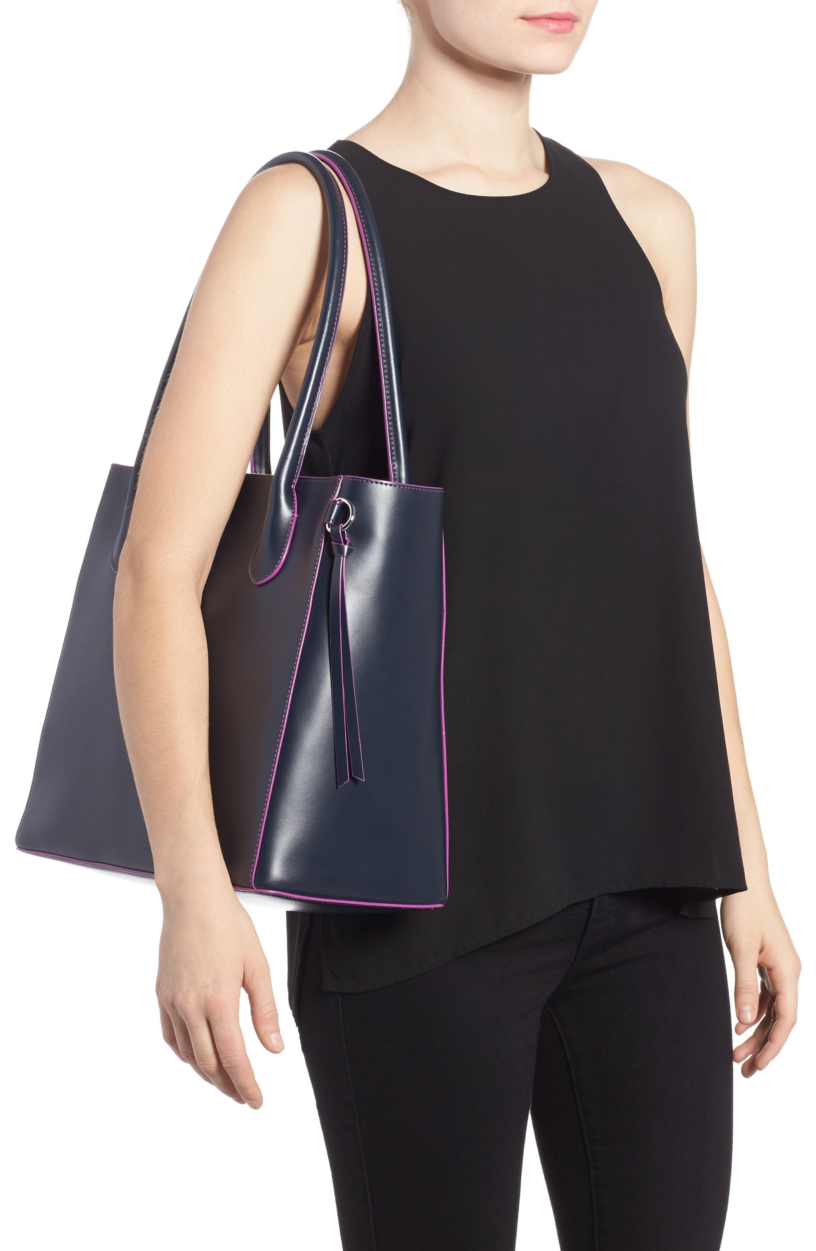 Cecily RFID Leather Tote,                             Alternate thumbnail 2, color,                             Navy/ Orchid
