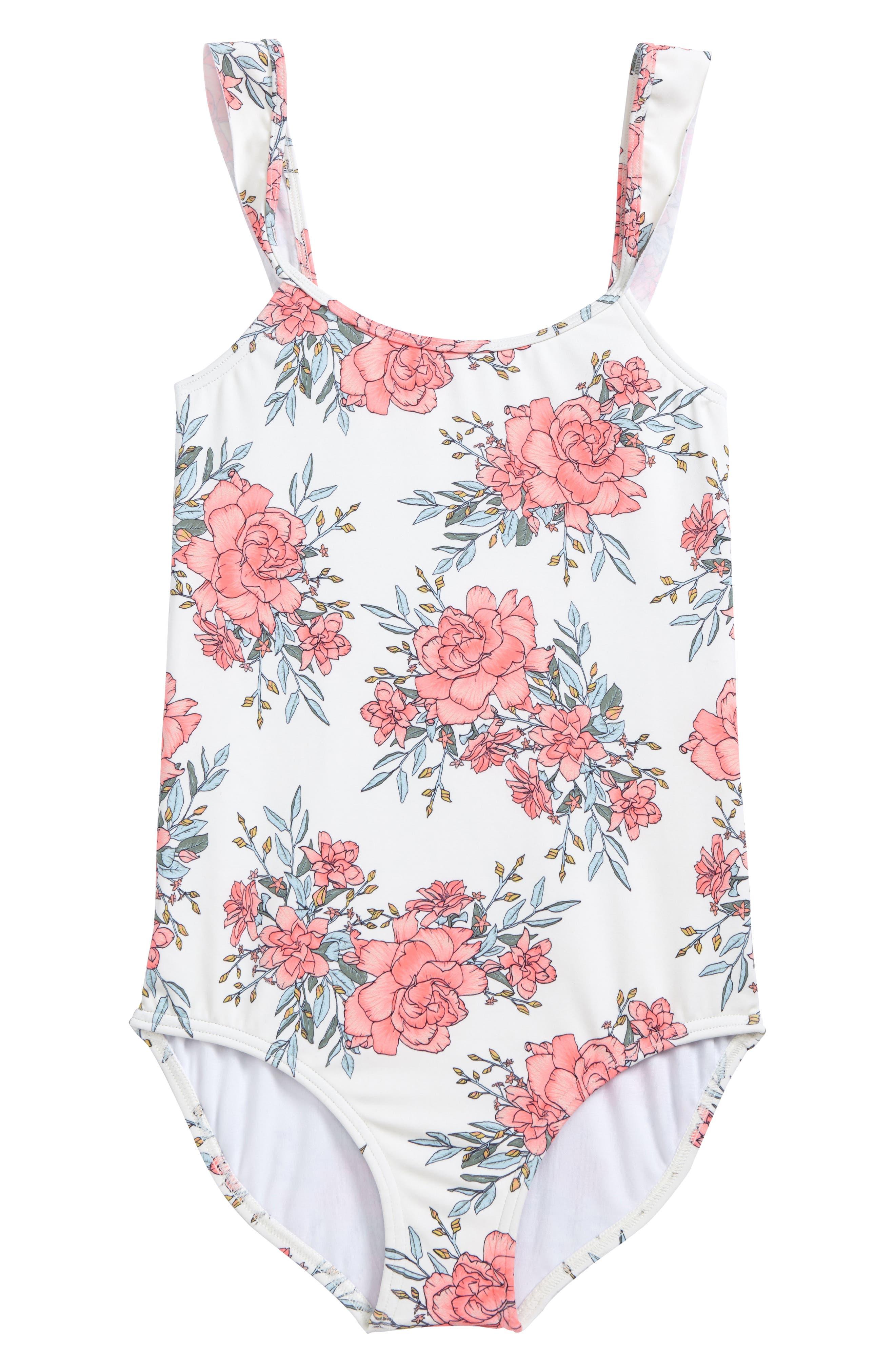 Nova Floral One-Piece Swimsuit,                         Main,                         color, Seashell