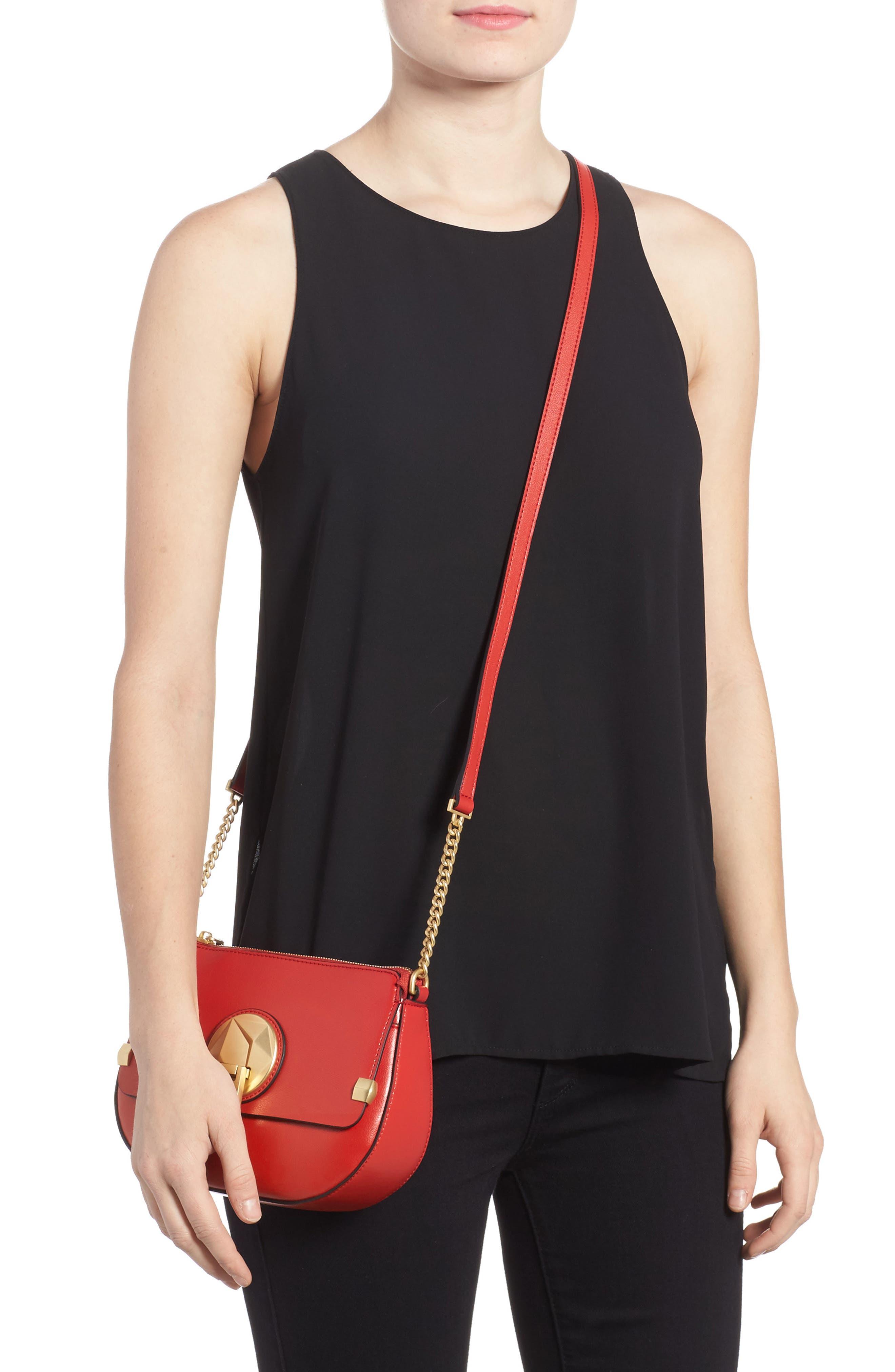 Céline Dion Octave Leather Crossbody Bag,                             Alternate thumbnail 2, color,                             Red