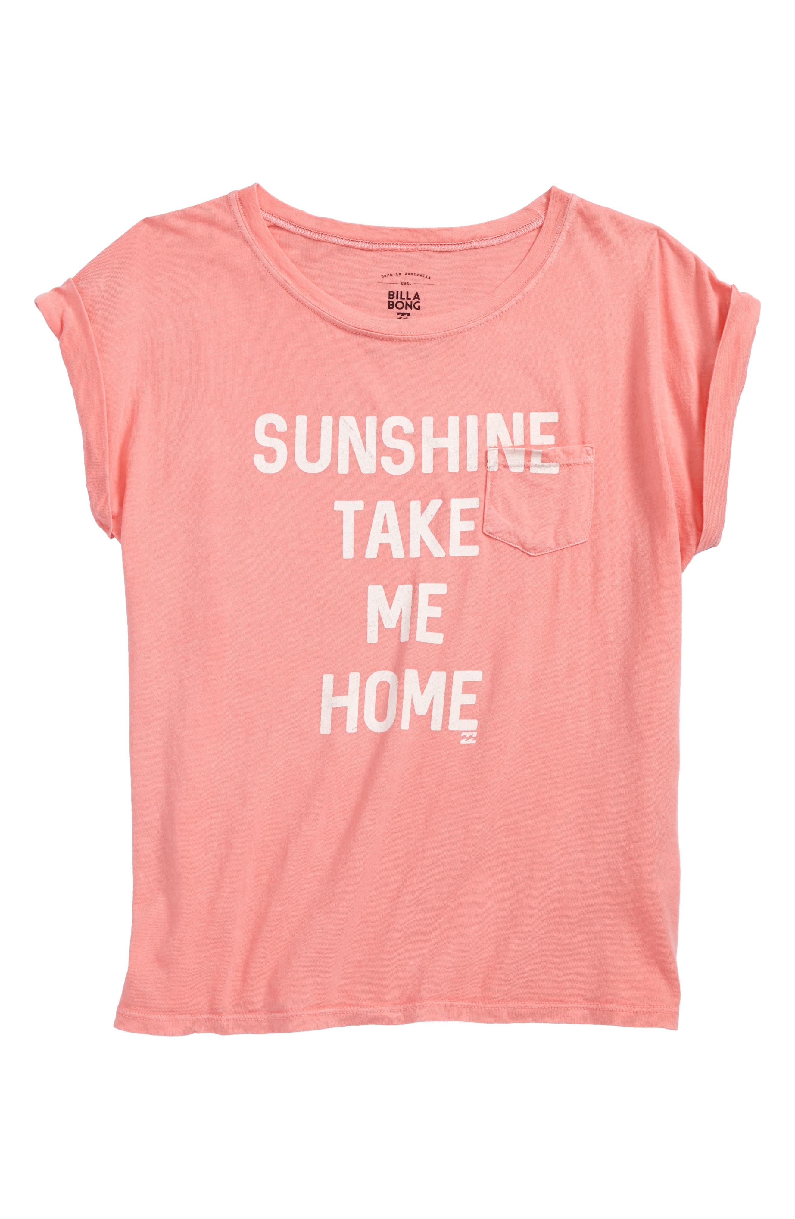 Sunshine Take Me Home Graphic Tee,                             Main thumbnail 1, color,                             Flamingo