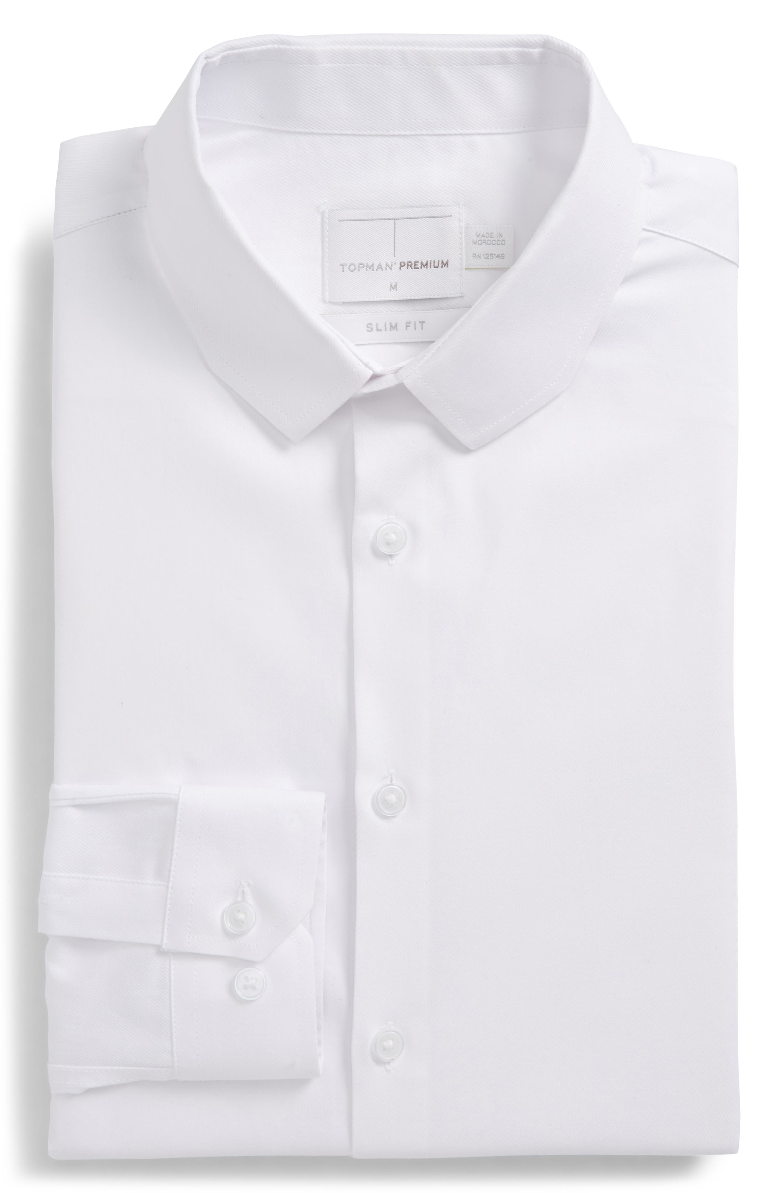 Trim Fit Chisel Collar Dress Shirt,                         Main,                         color, White