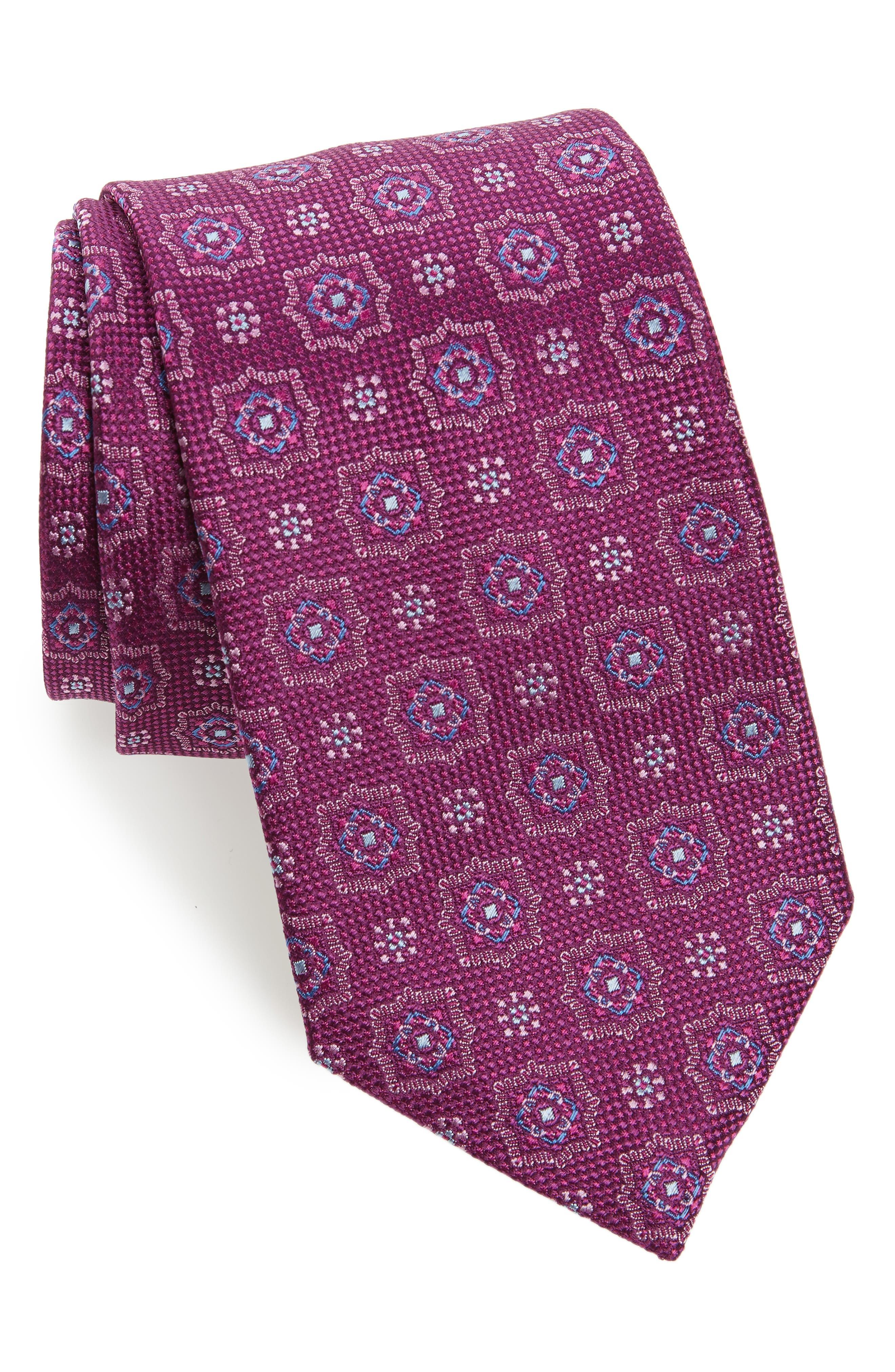Medallion Silk Tie,                             Main thumbnail 1, color,                             Plum