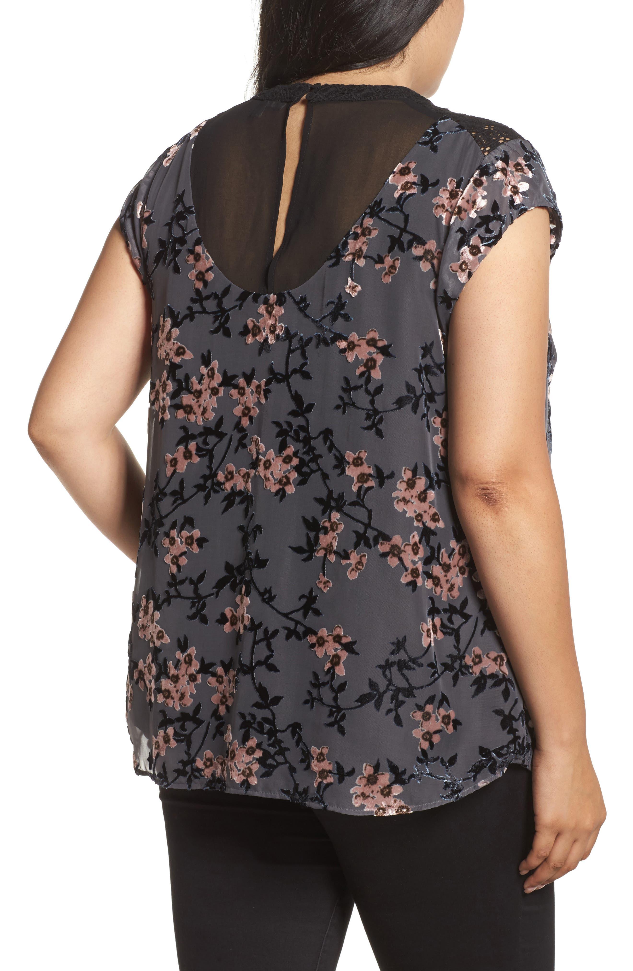Alternate Image 2  - Daniel Rainn Floral Burnout Velvet Top (Plus Size)