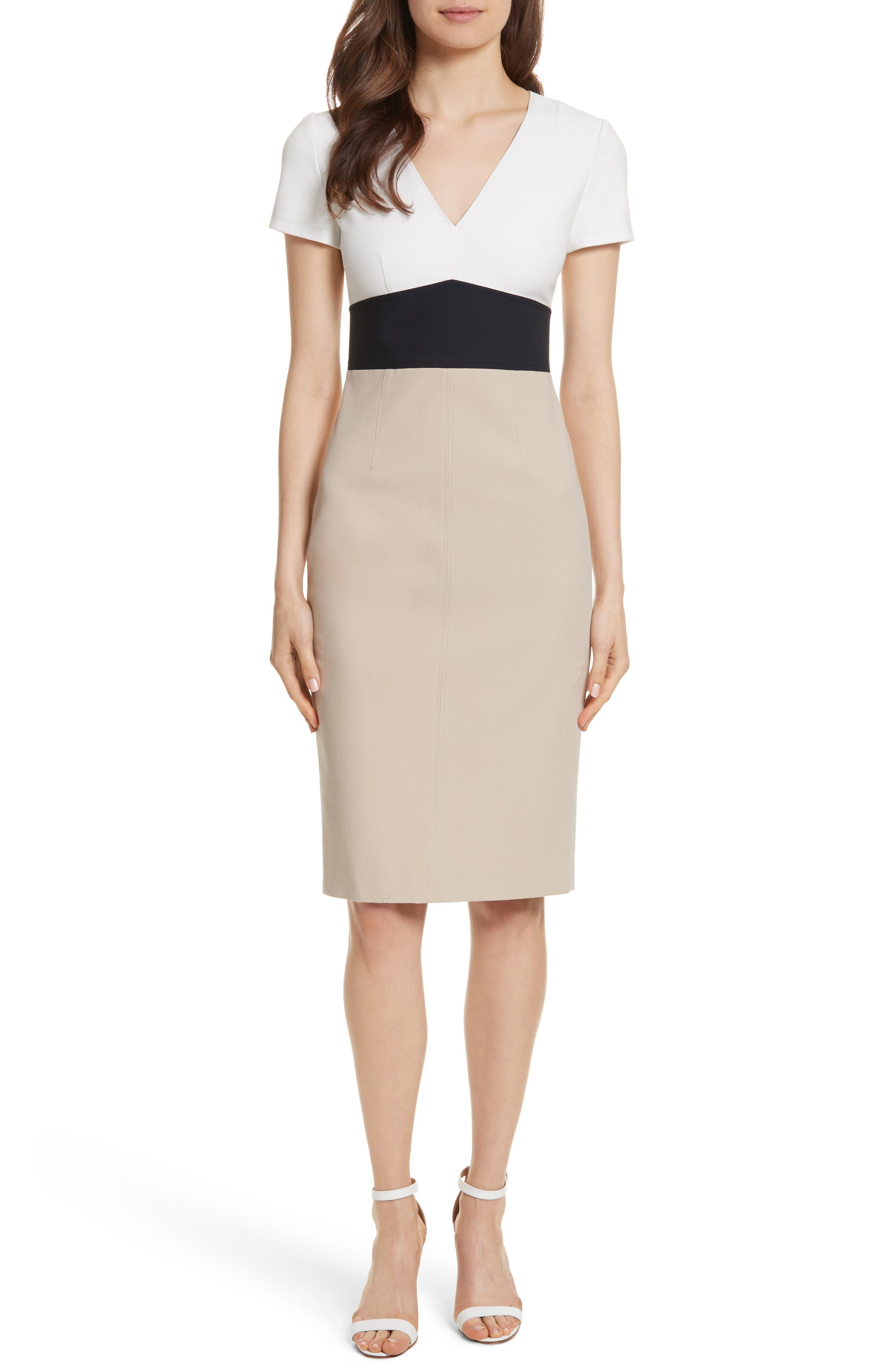 Diane von Furstenberg Colorblock Stretch Cotton Blend Sheath Dress,                             Main thumbnail 1, color,                             Sand/ Alexander Navy/ White