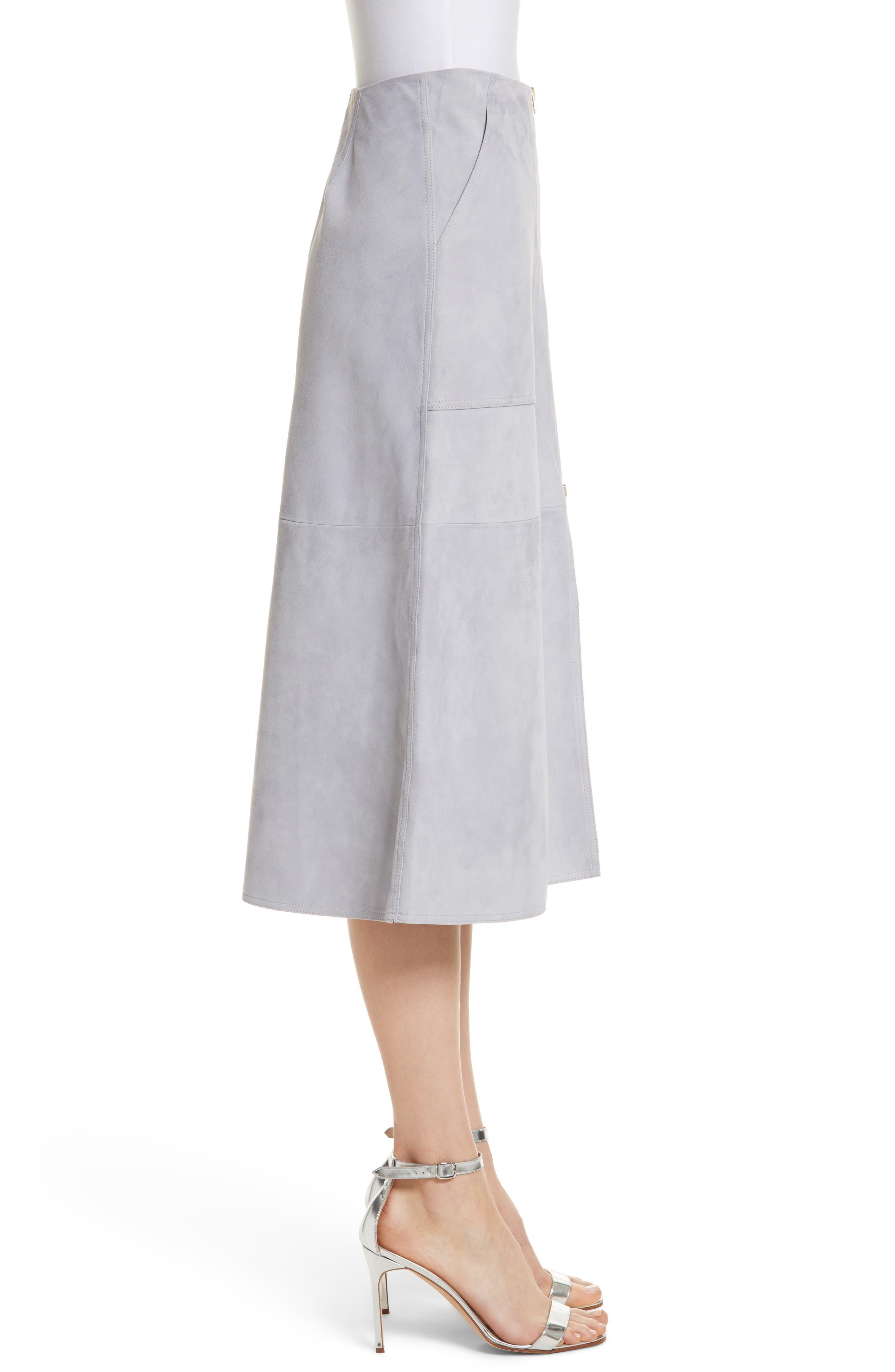 Diane von Furstenberg Patch Pocket Suede Midi Skirt,                             Alternate thumbnail 3, color,                             Smoke