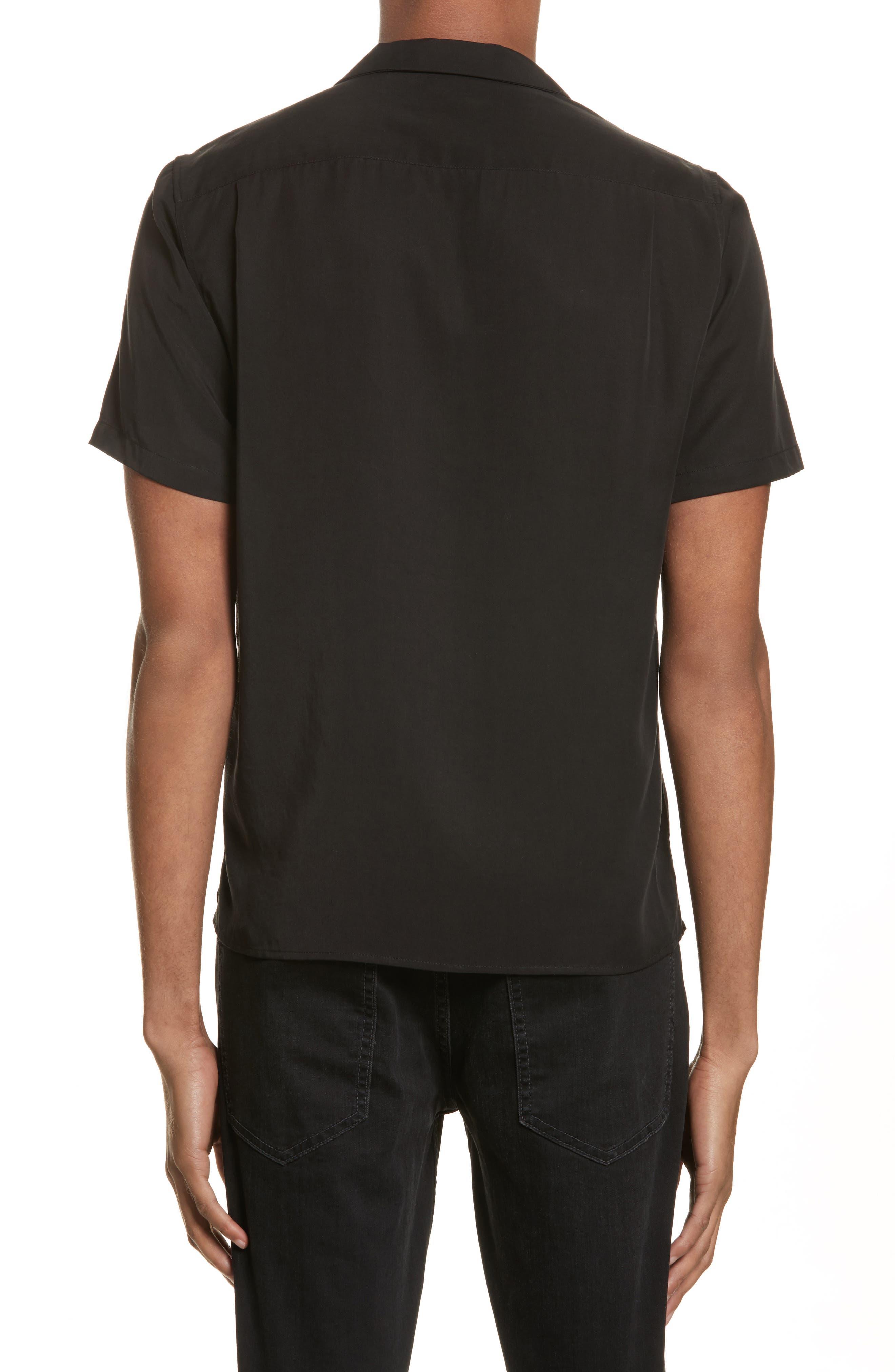 Embroidered Snake Camp Shirt,                             Alternate thumbnail 2, color,                             Black