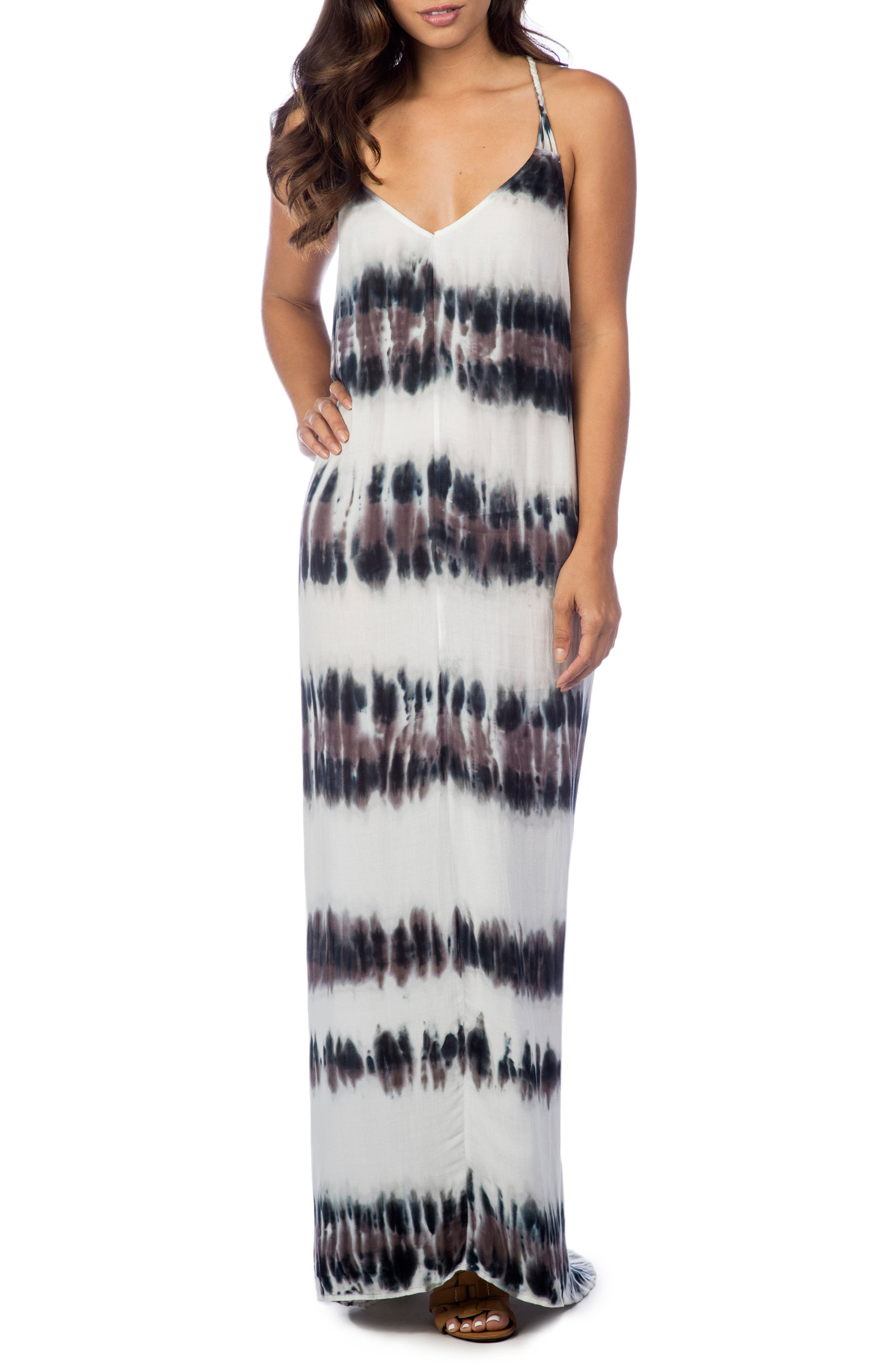 Stripe Maxi Dress,                         Main,                         color, Pebble