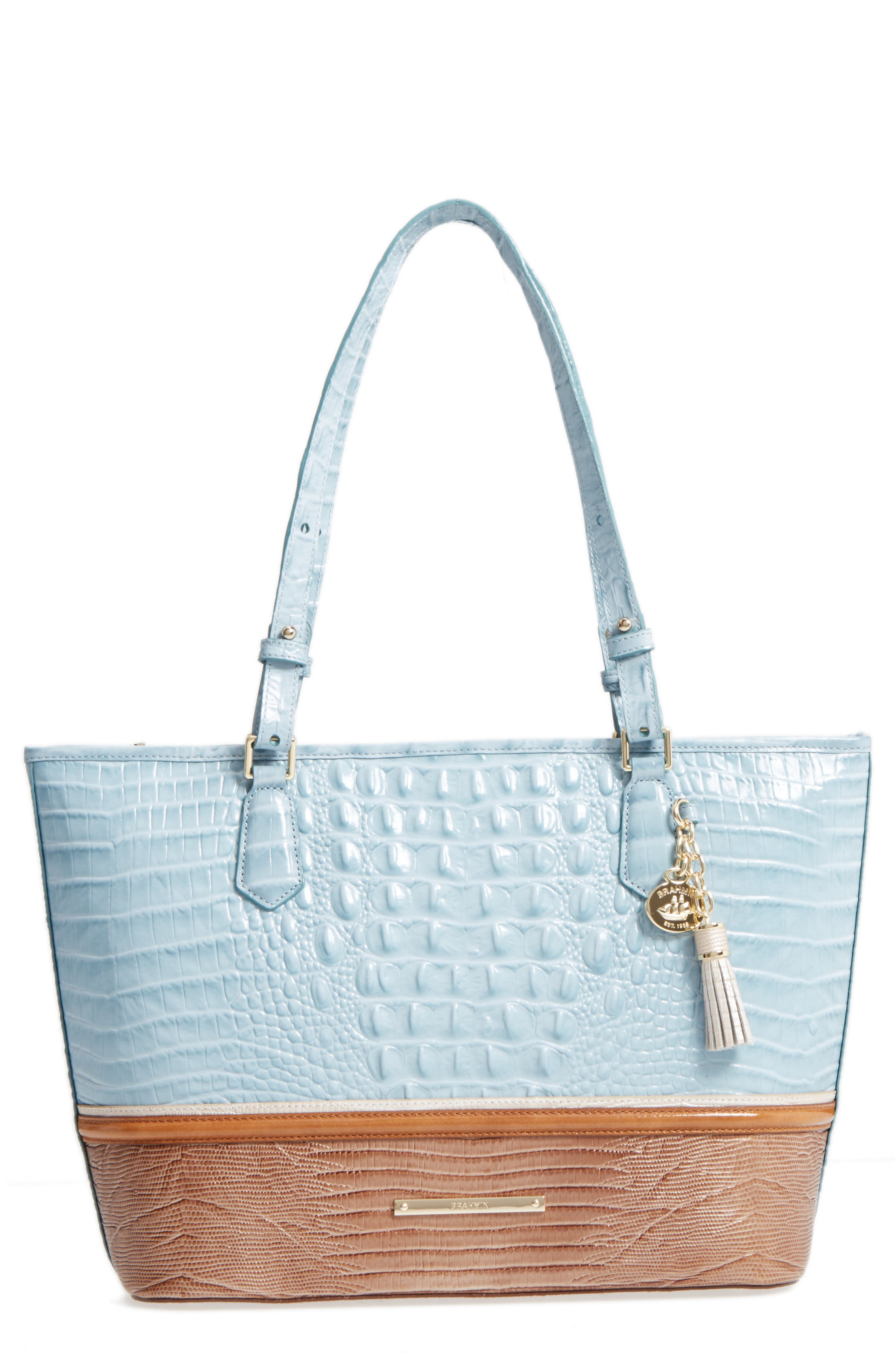 Medium Asher Leather Tote,                         Main,                         color, Sky