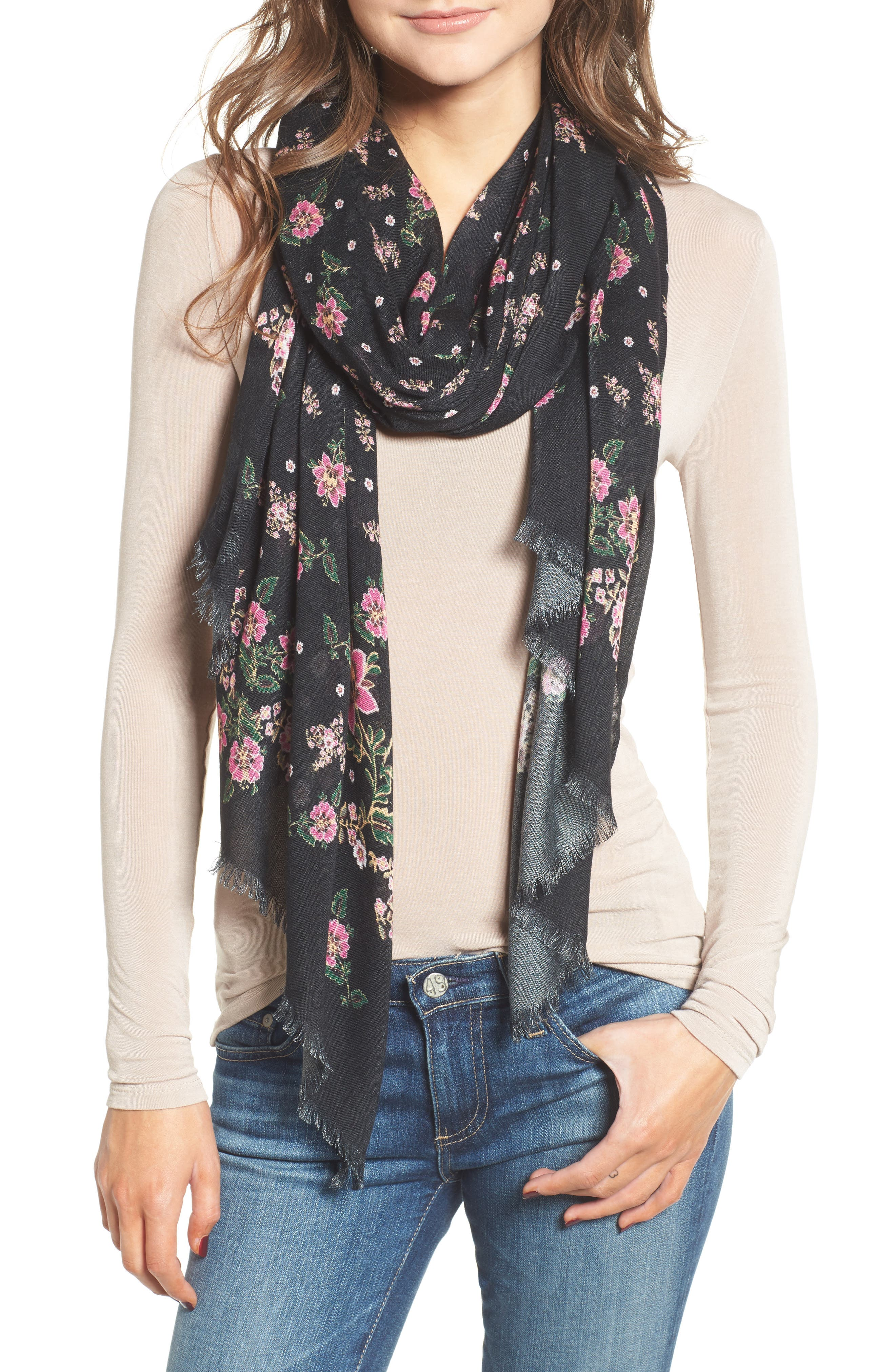 Mixed Floral Oblong Scarf,                         Main,                         color, Black
