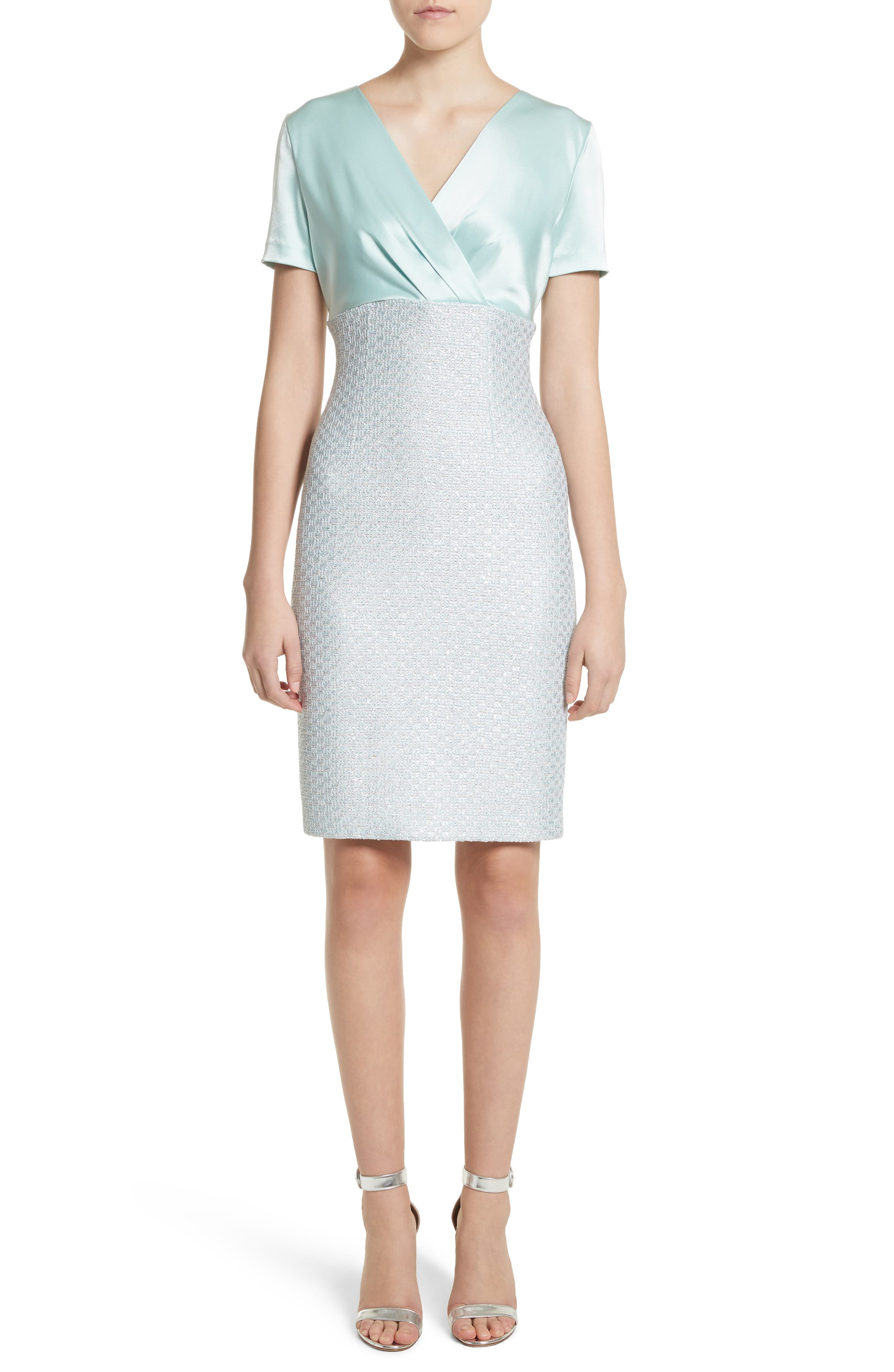 Hansh Satin & Knit Sheath Dress,                             Main thumbnail 1, color,                             Mint