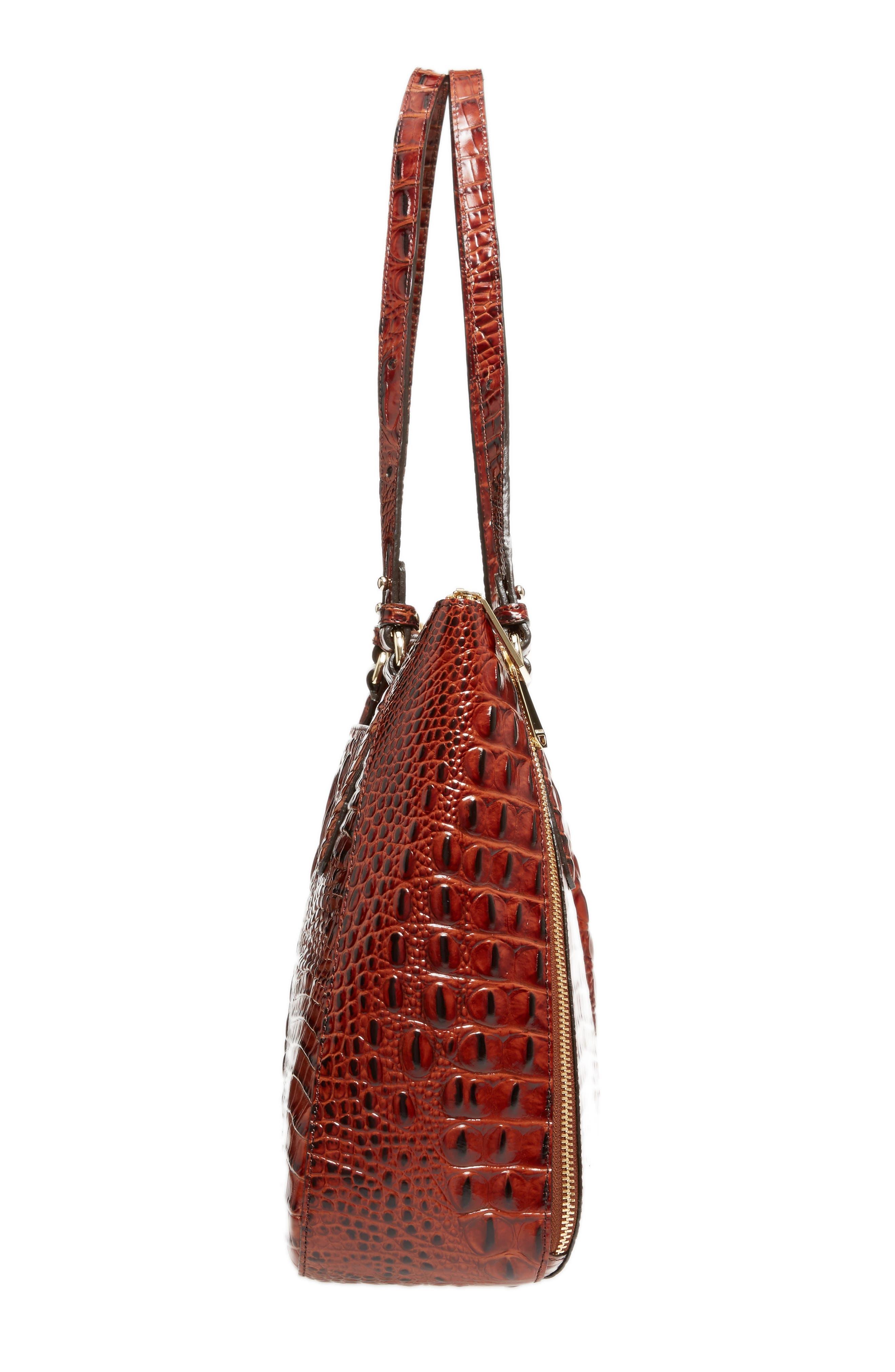 Melbourne - Adina Croc Embossed Leather Satchel,                             Alternate thumbnail 5, color,                             Pecan