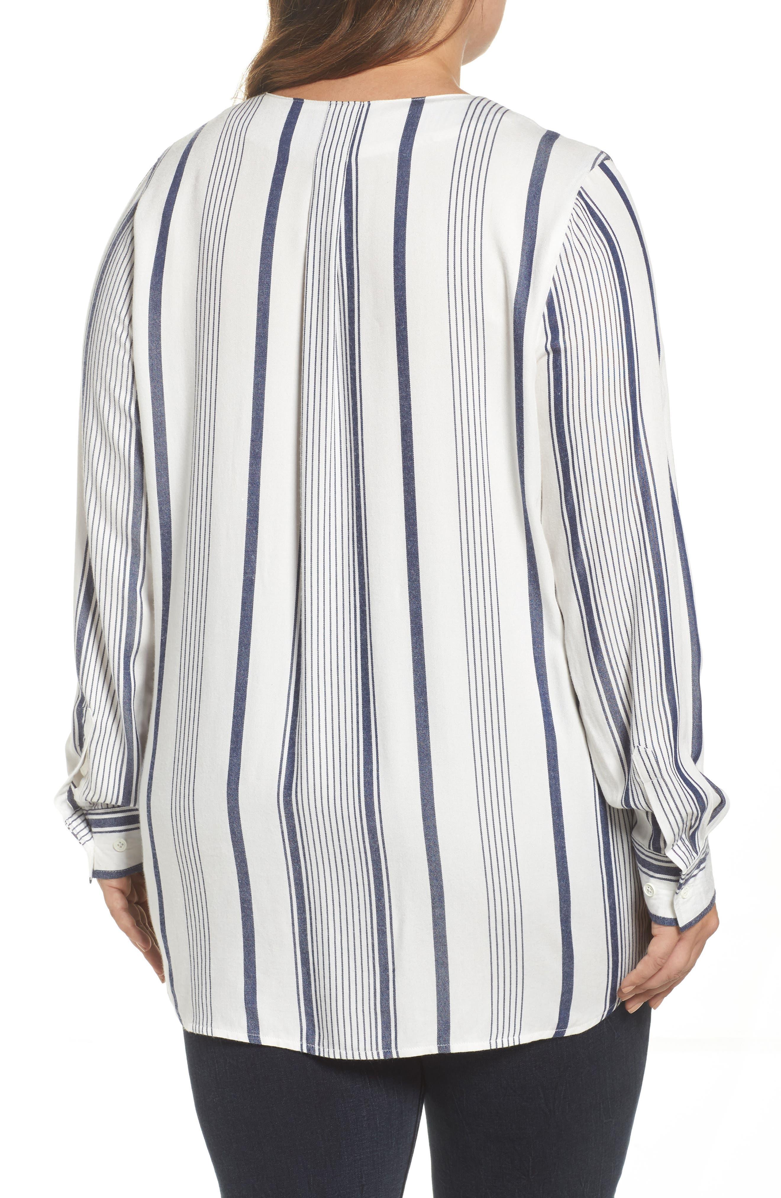 Alternate Image 2  - Melissa McCarthy Seven7 Stripe Surplice Top (Plus Size)