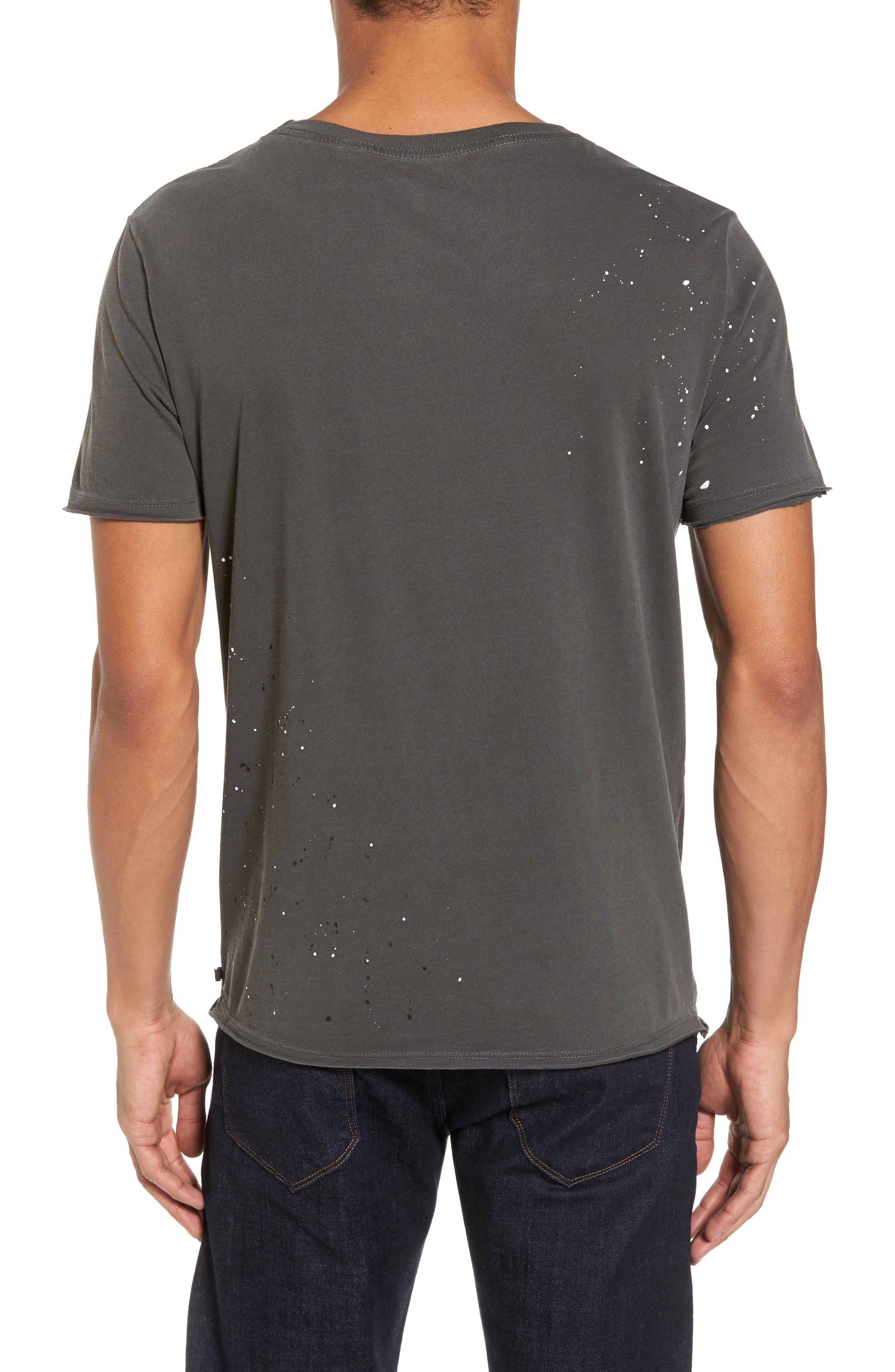 Anders Slim Fit Pocket T-Shirt,                             Alternate thumbnail 2, color,                             Multi Splatter Pigment Black