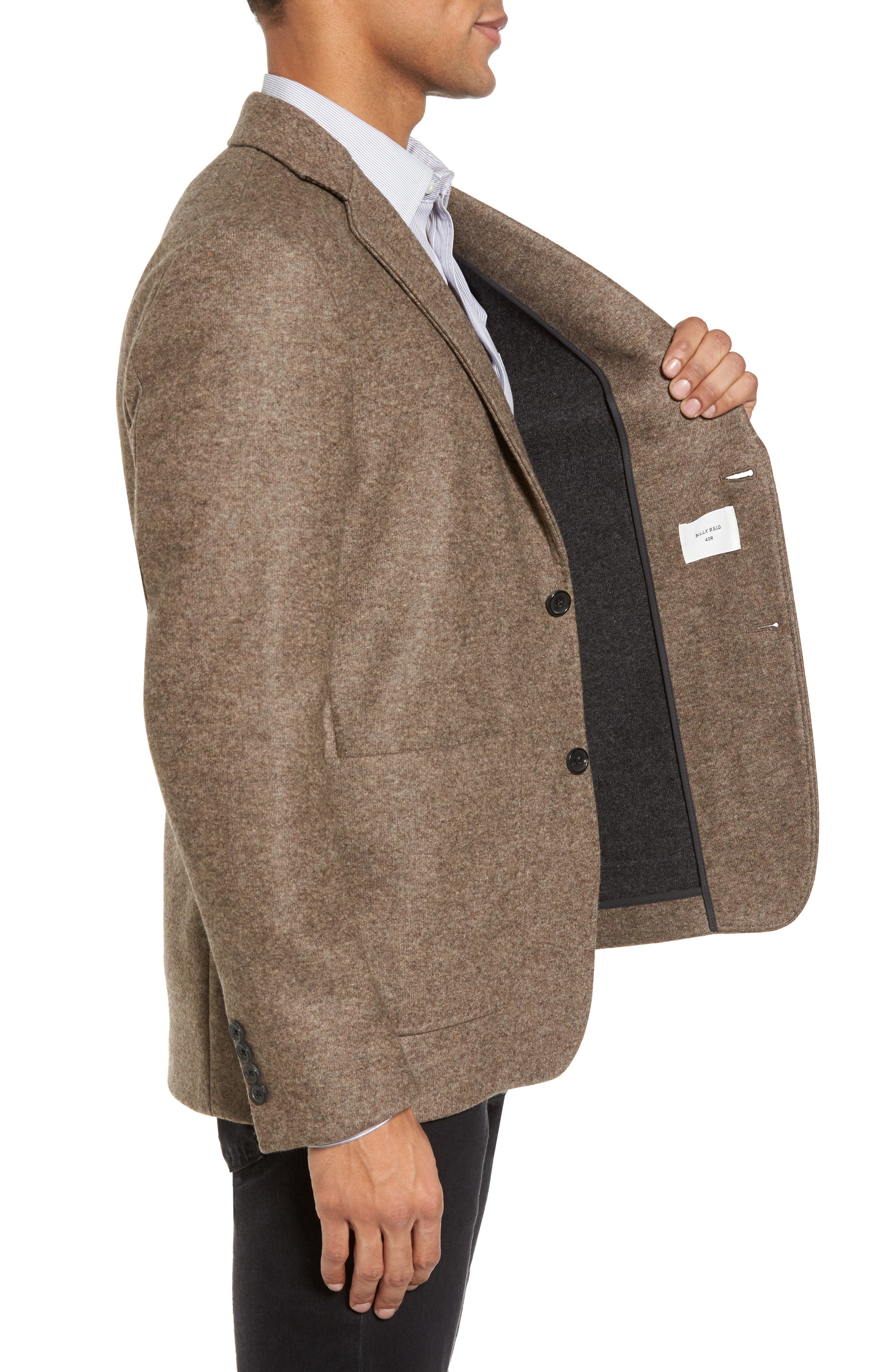 Dylan Knit Wool Blend Sport Coat,                             Alternate thumbnail 3, color,                             Taupe
