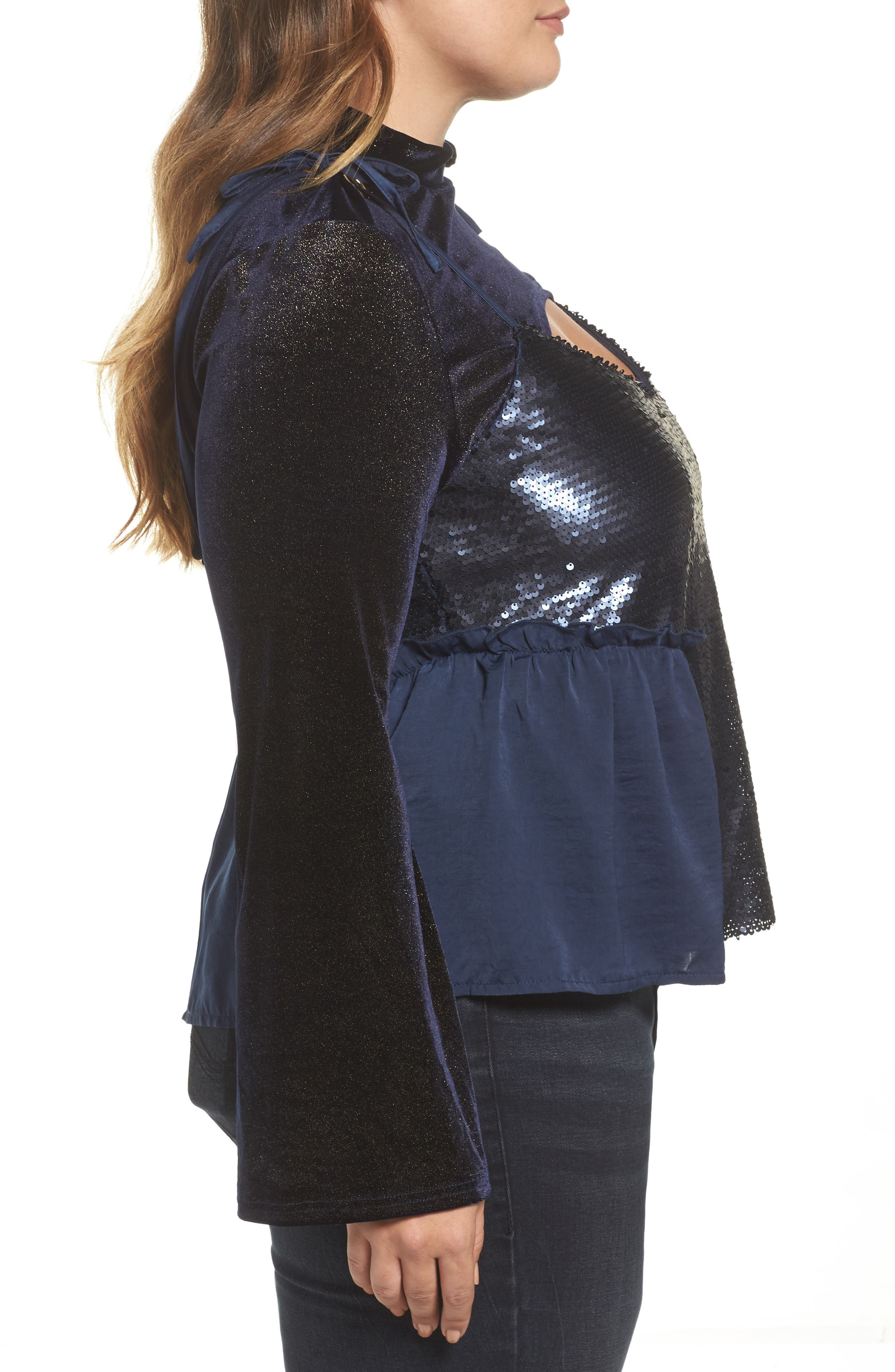 Alternate Image 3  - LOST INK Bell Sleeve Velvet Top with Sequin Cami (Plus Size)