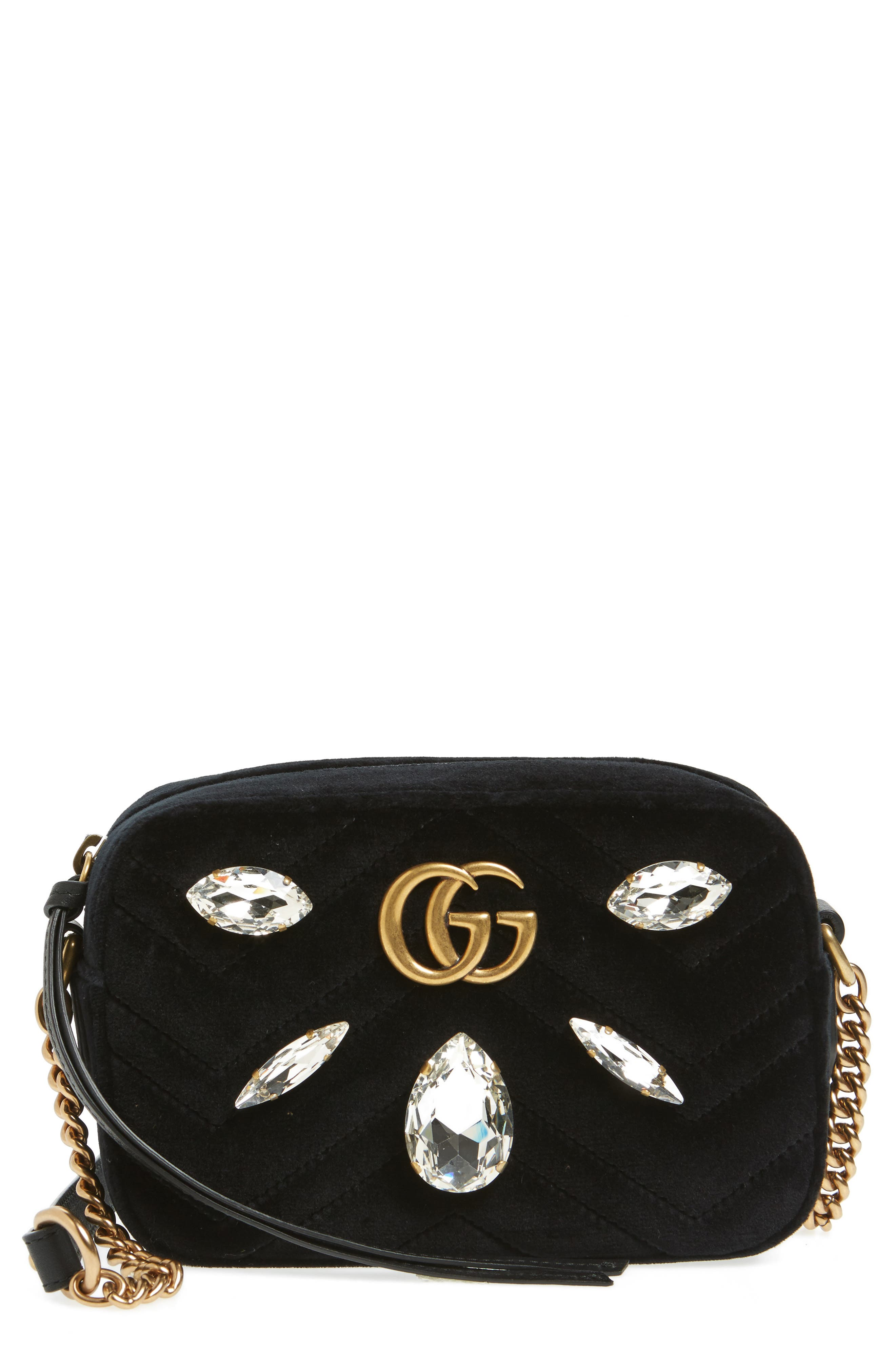 GG Marmont Crystal Matelassé Quilted Velvet Crossbody Bag,                         Main,                         color, Nero/ Crystal