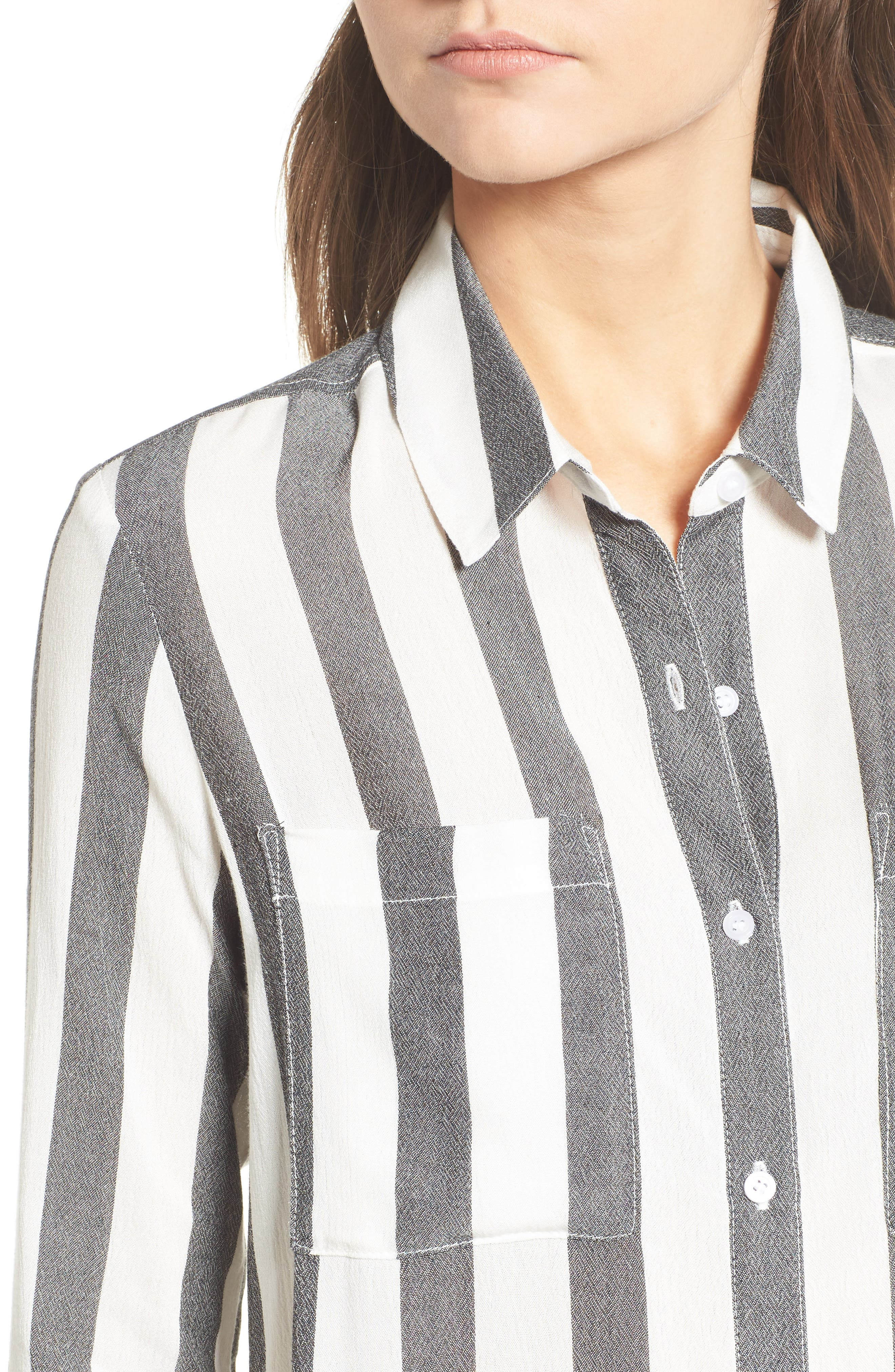 The Perfect Shirt,                             Alternate thumbnail 4, color,                             Black Flora Stripe