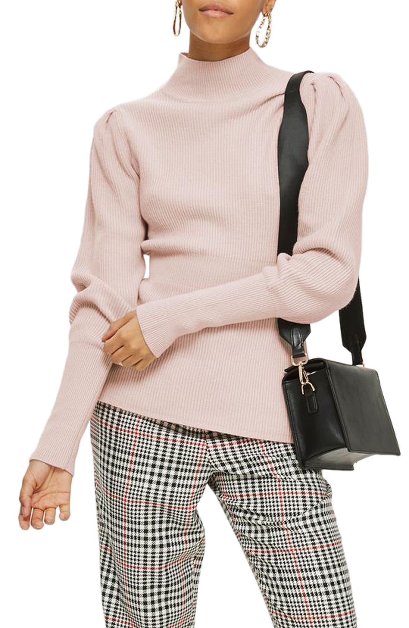 Puff Sleeve Funnel Neck Sweater,                             Alternate thumbnail 3, color,                             Blush