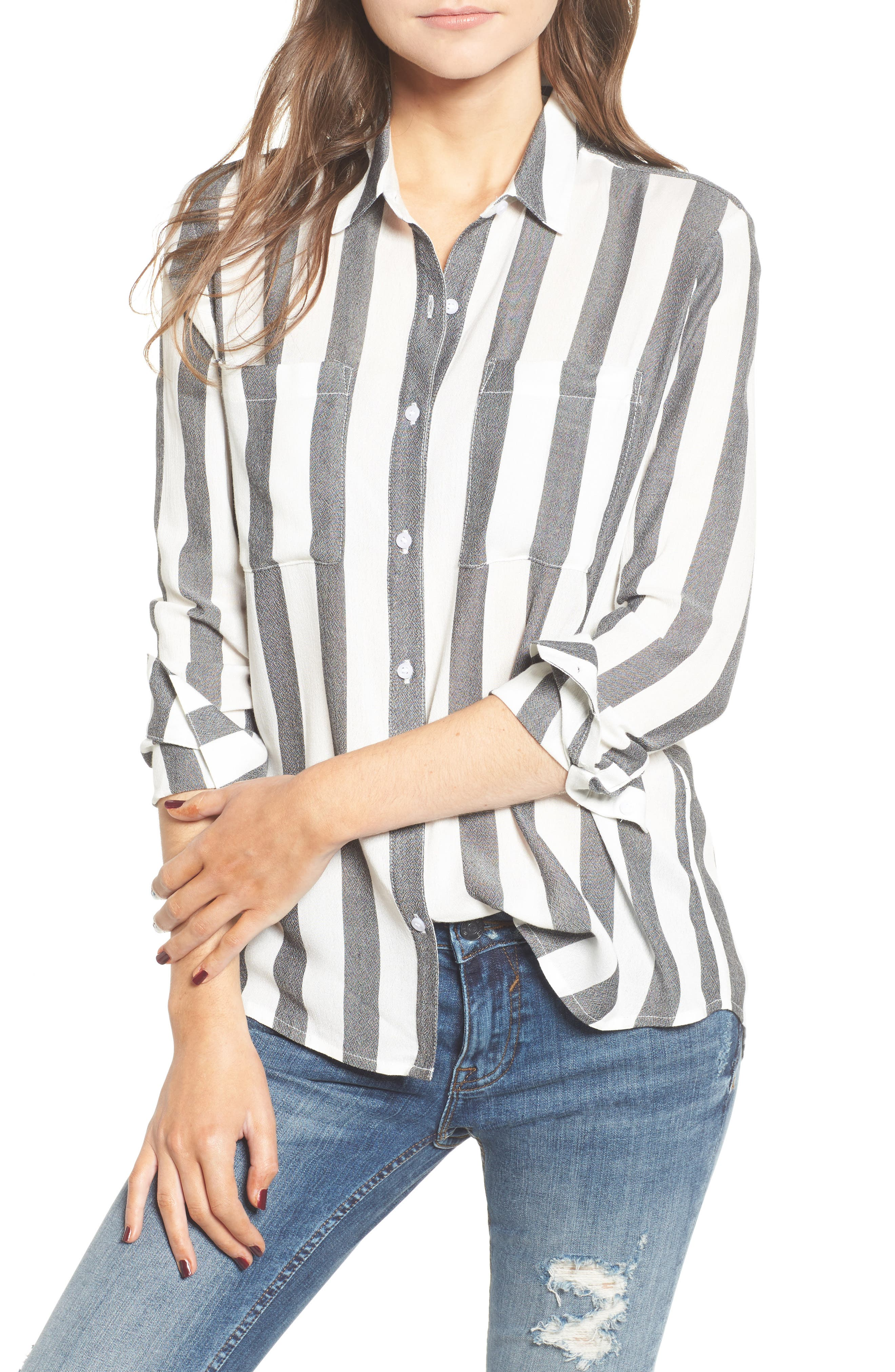 The Perfect Shirt,                         Main,                         color, Black Flora Stripe