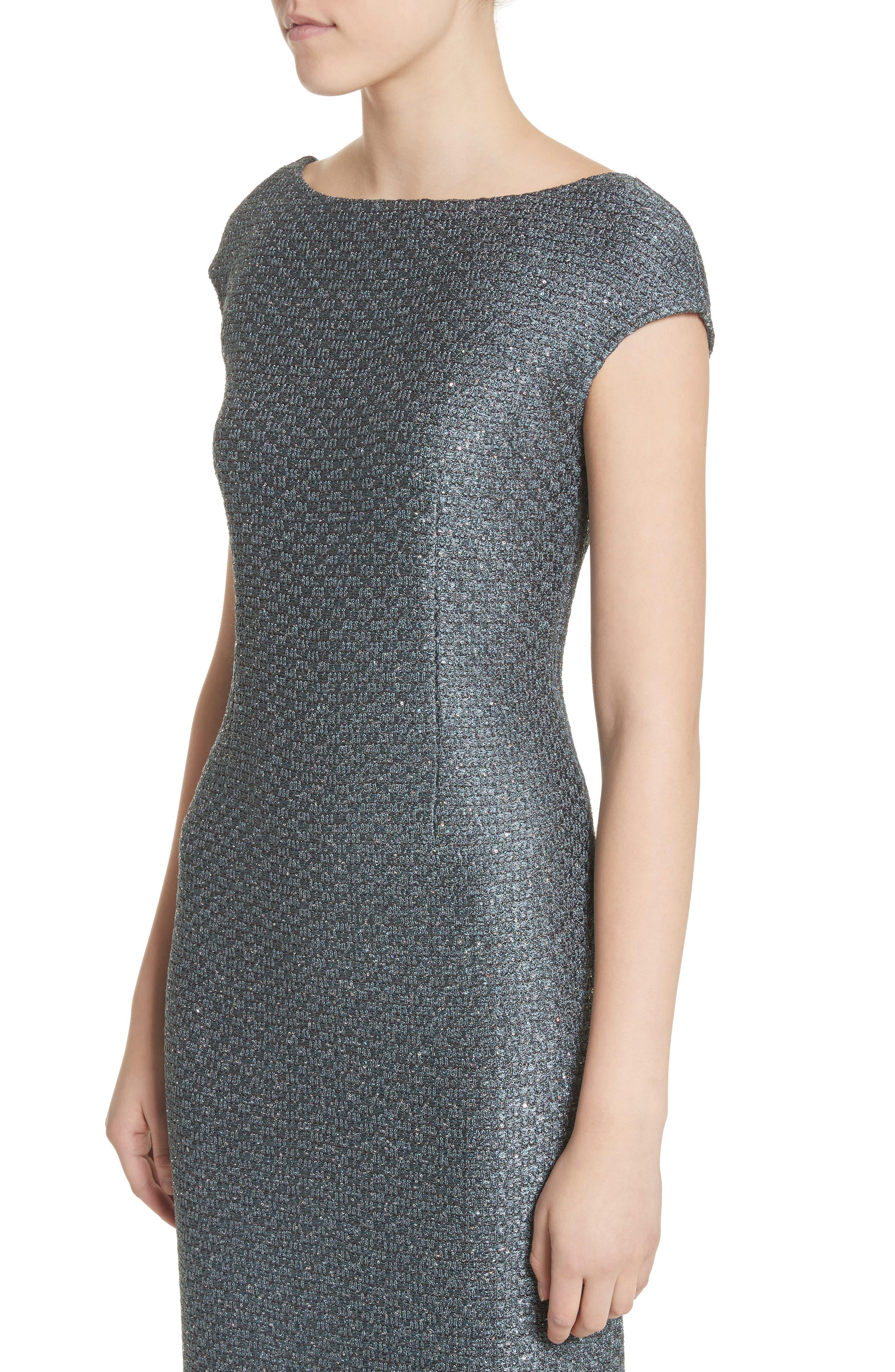 Spark Sequin Hansh Knit Column Gown,                             Alternate thumbnail 4, color,                             Dark Mint Multi