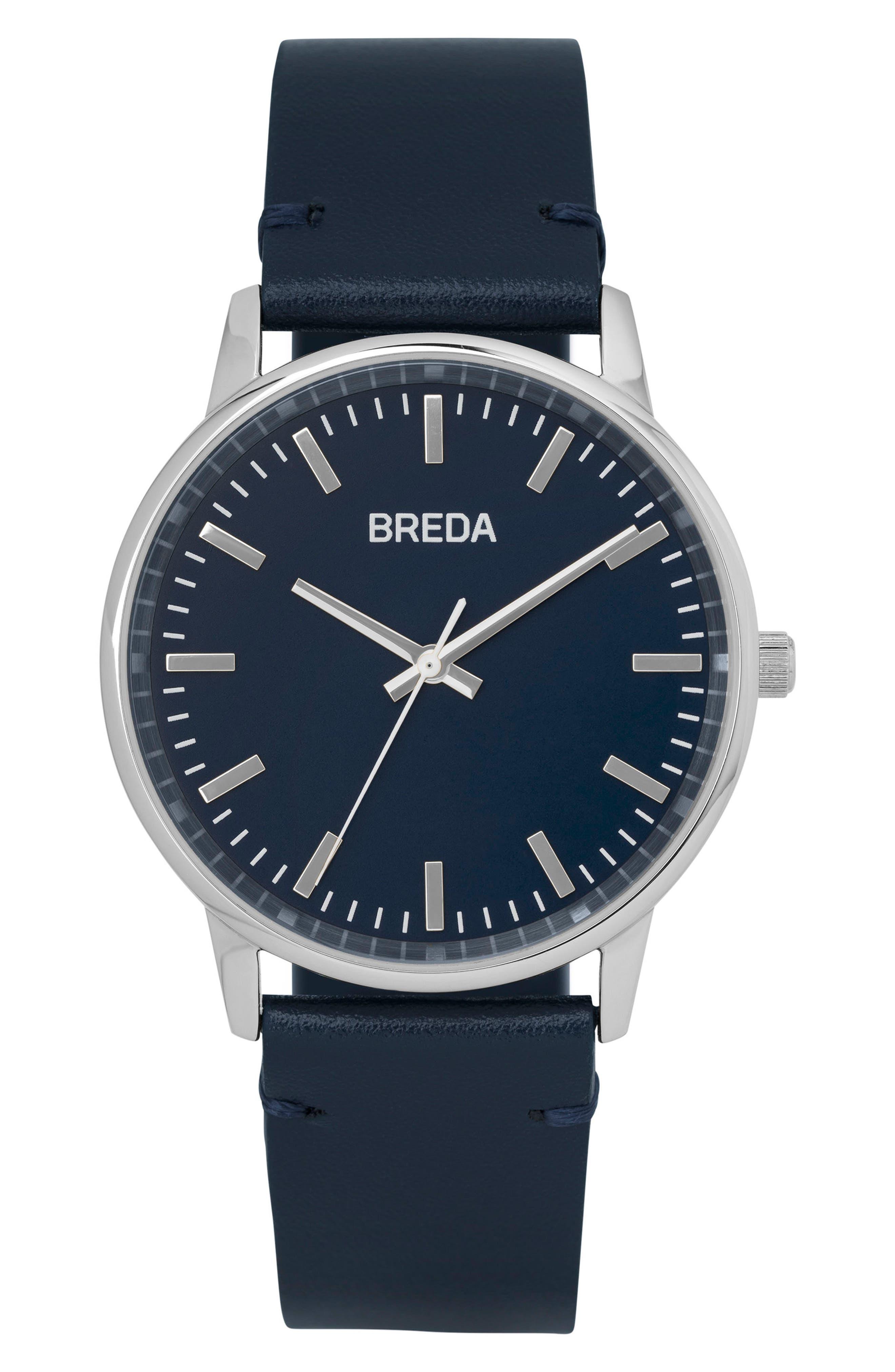 Main Image - BREDA Zapf Leather Strap Watch, 39mm