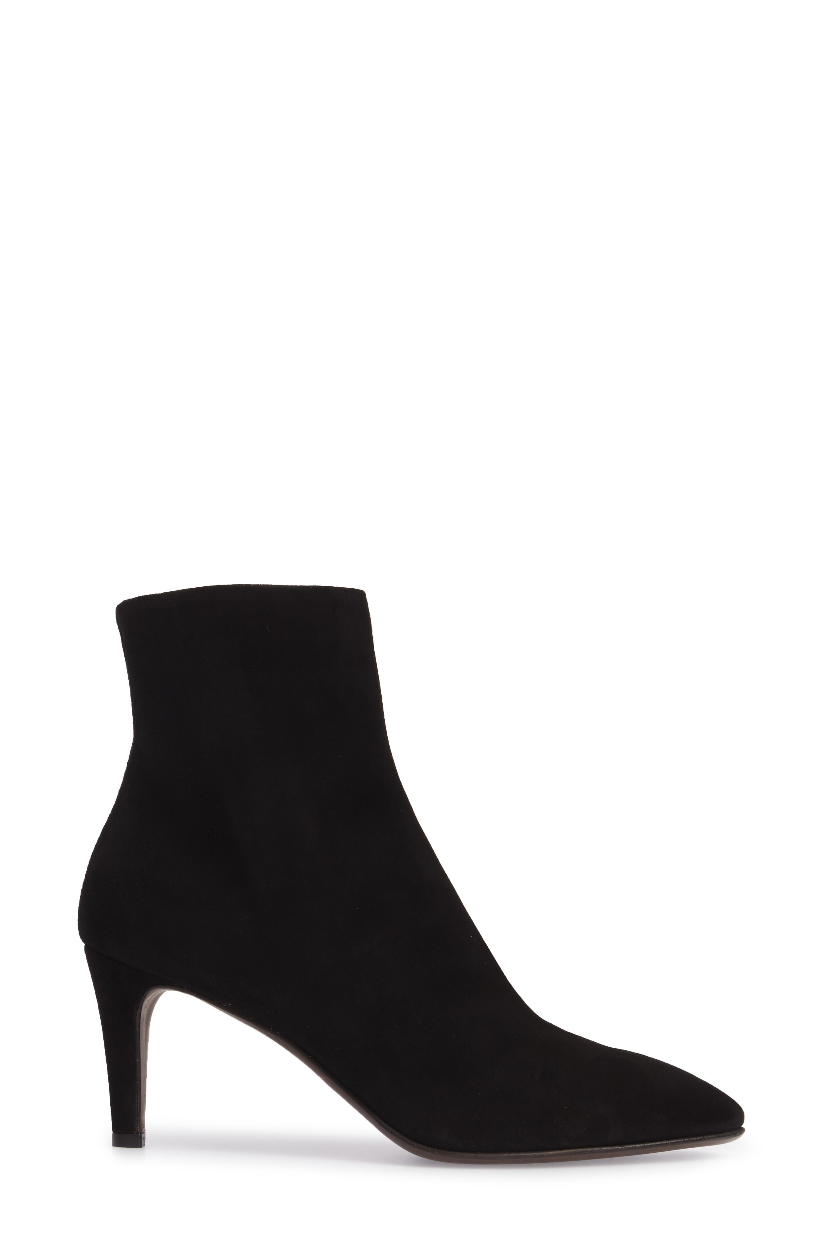 Pointy Toe Bootie,                             Alternate thumbnail 3, color,                             Black Suede