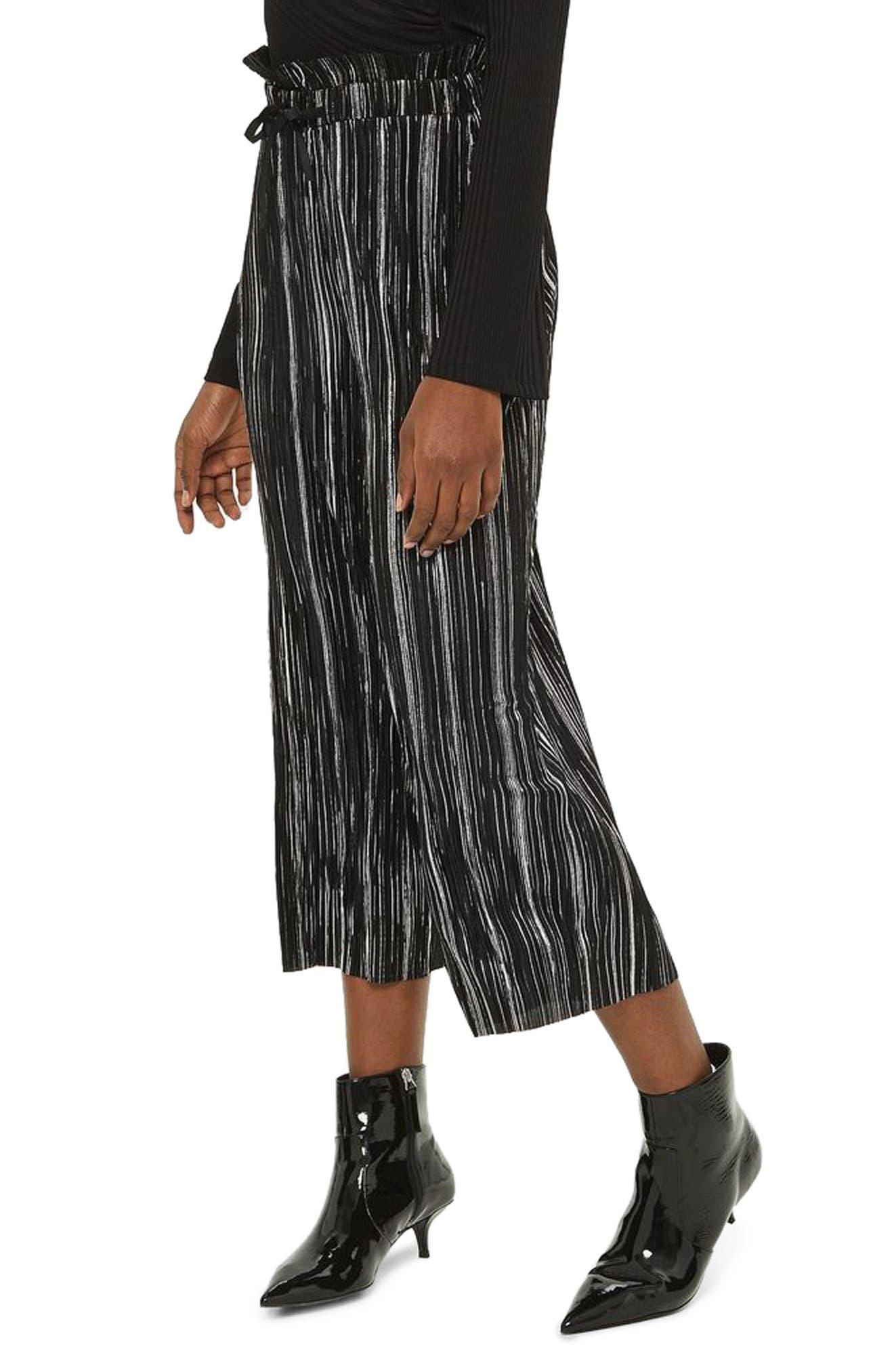 Metallic Plissé Pants,                         Main,                         color, Black Multi