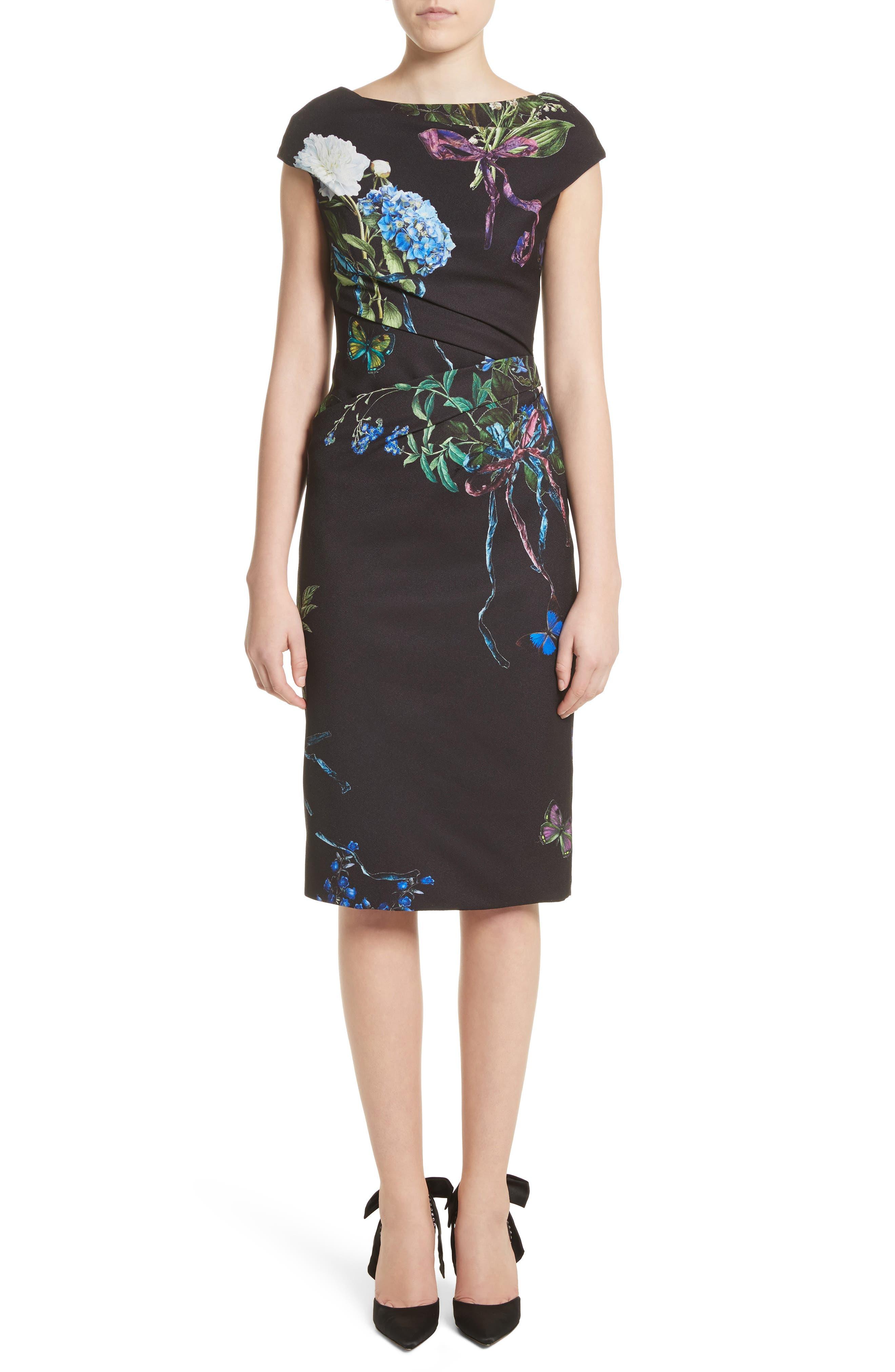 Main Image - Monique Lhuillier Botanical Print Draped Sheath Dress