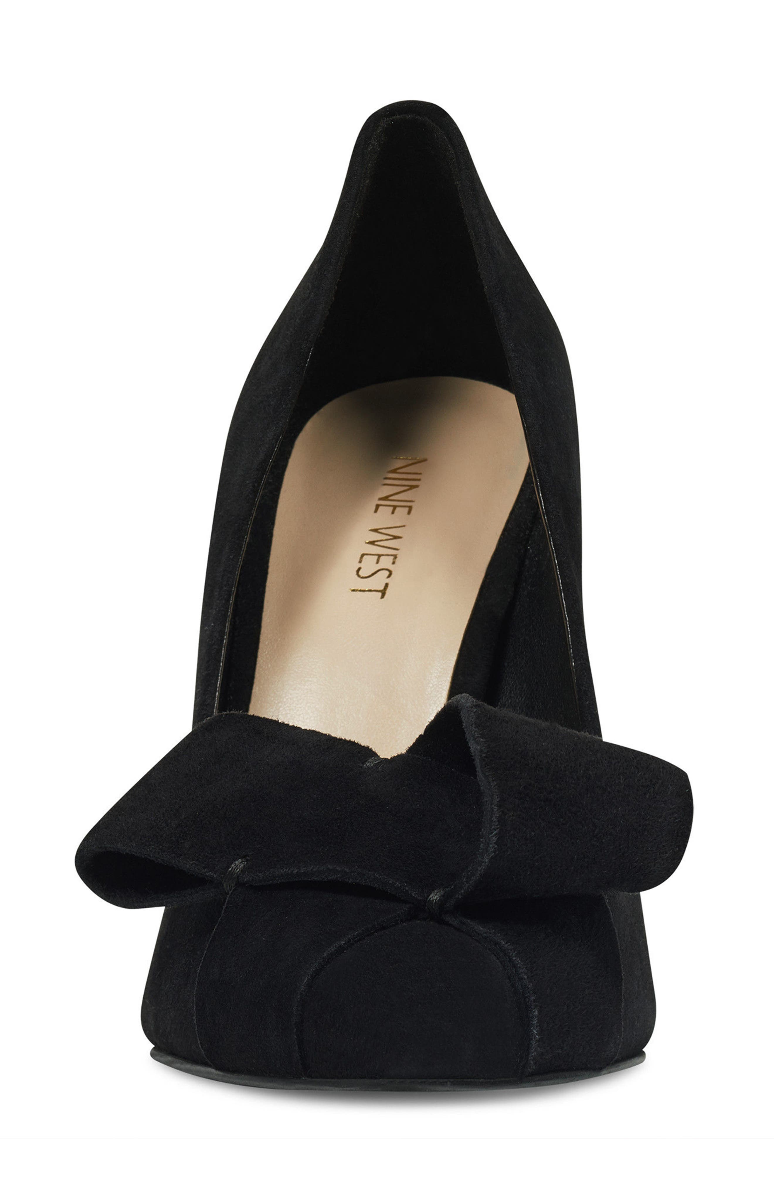 Haddriana Pointy Toe Pump,                             Alternate thumbnail 4, color,                             Black Suede