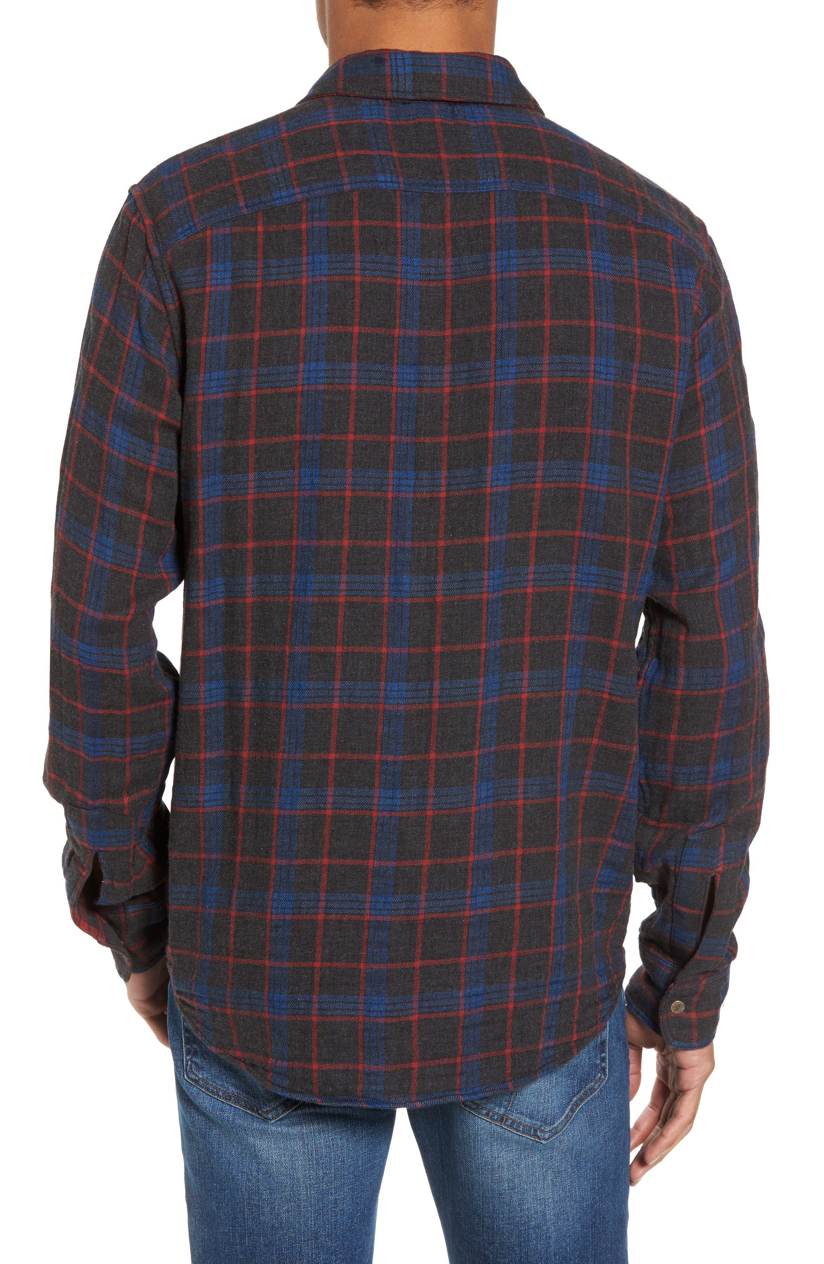 Belmar Plaid Reversible Sport Shirt,                             Alternate thumbnail 3, color,                             Charcoal Blue Red Plaid