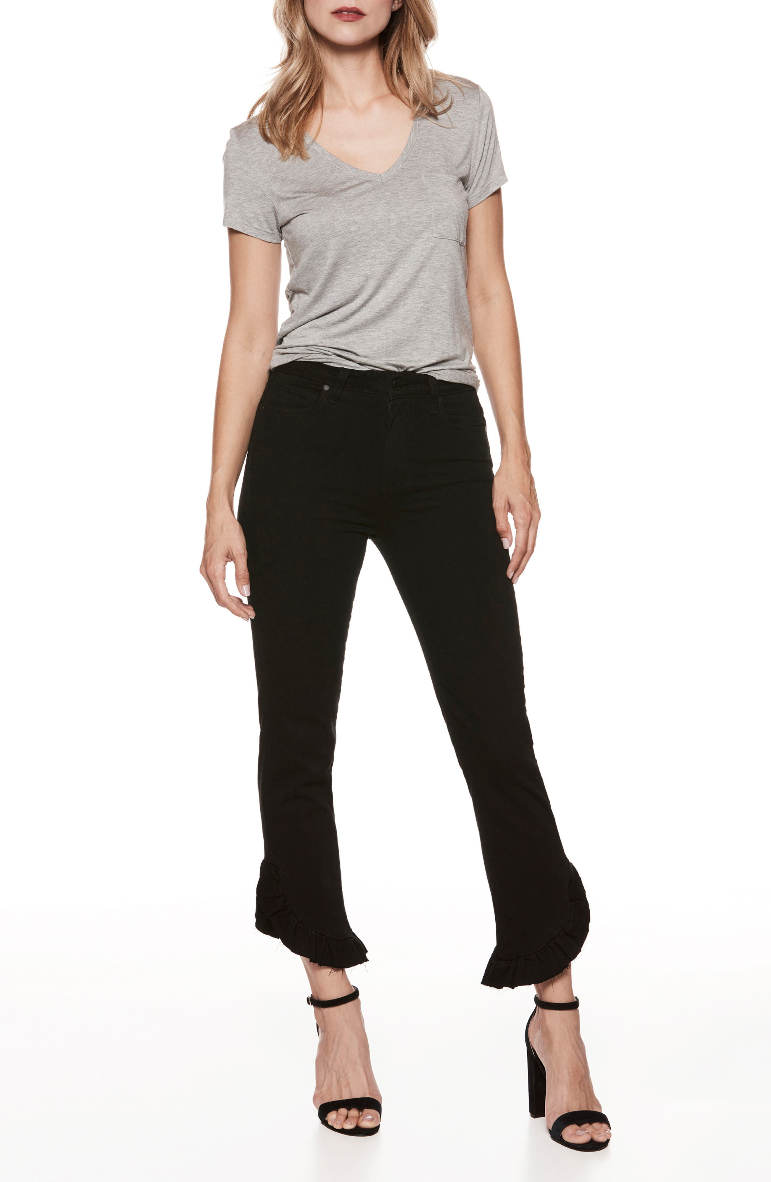 Transcend - Hoxton High Waist Ankle Straight Leg Jeans,                             Alternate thumbnail 4, color,                             Black Shadow