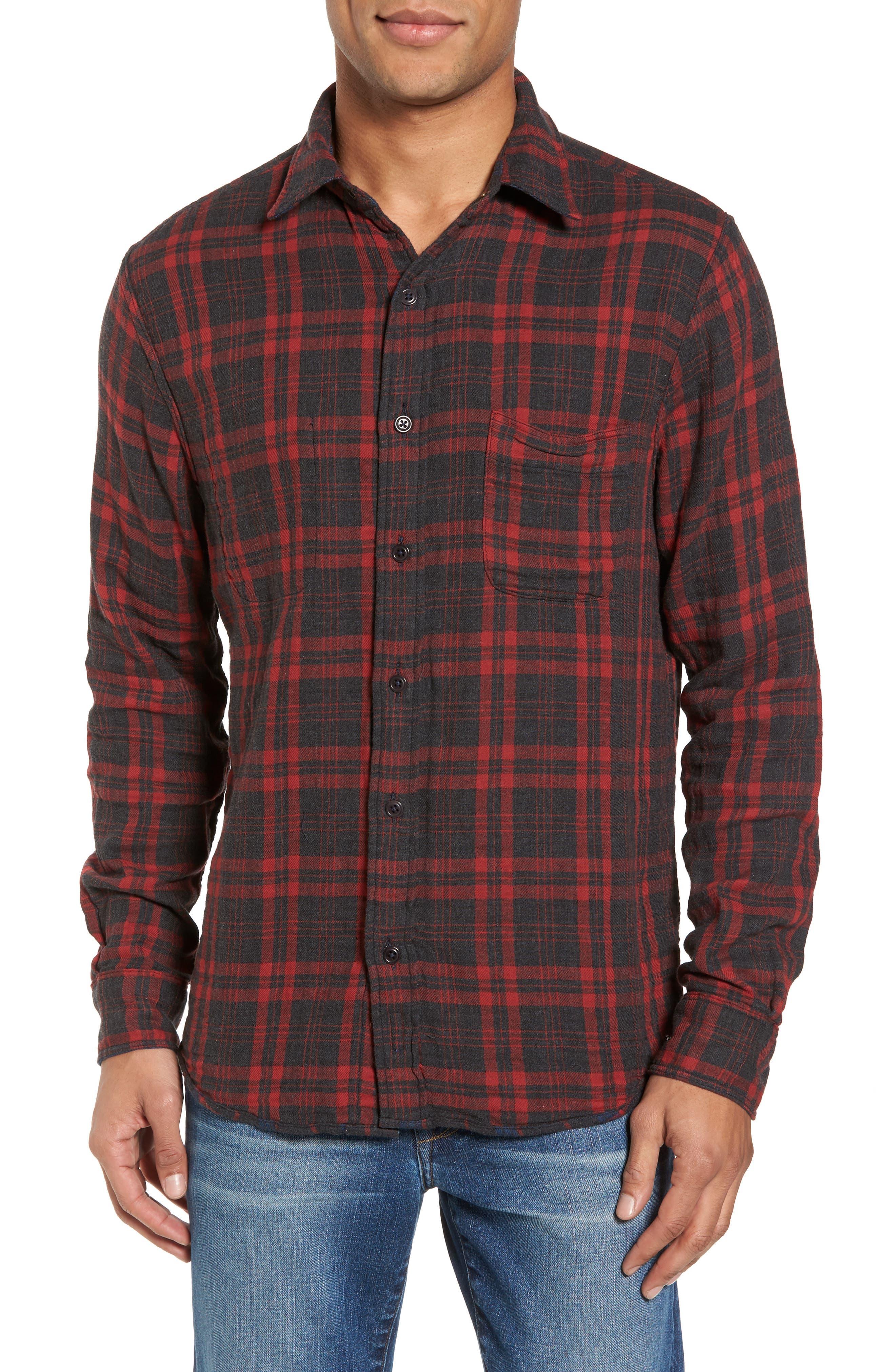 Belmar Plaid Reversible Sport Shirt,                             Alternate thumbnail 2, color,                             Charcoal Blue Red Plaid