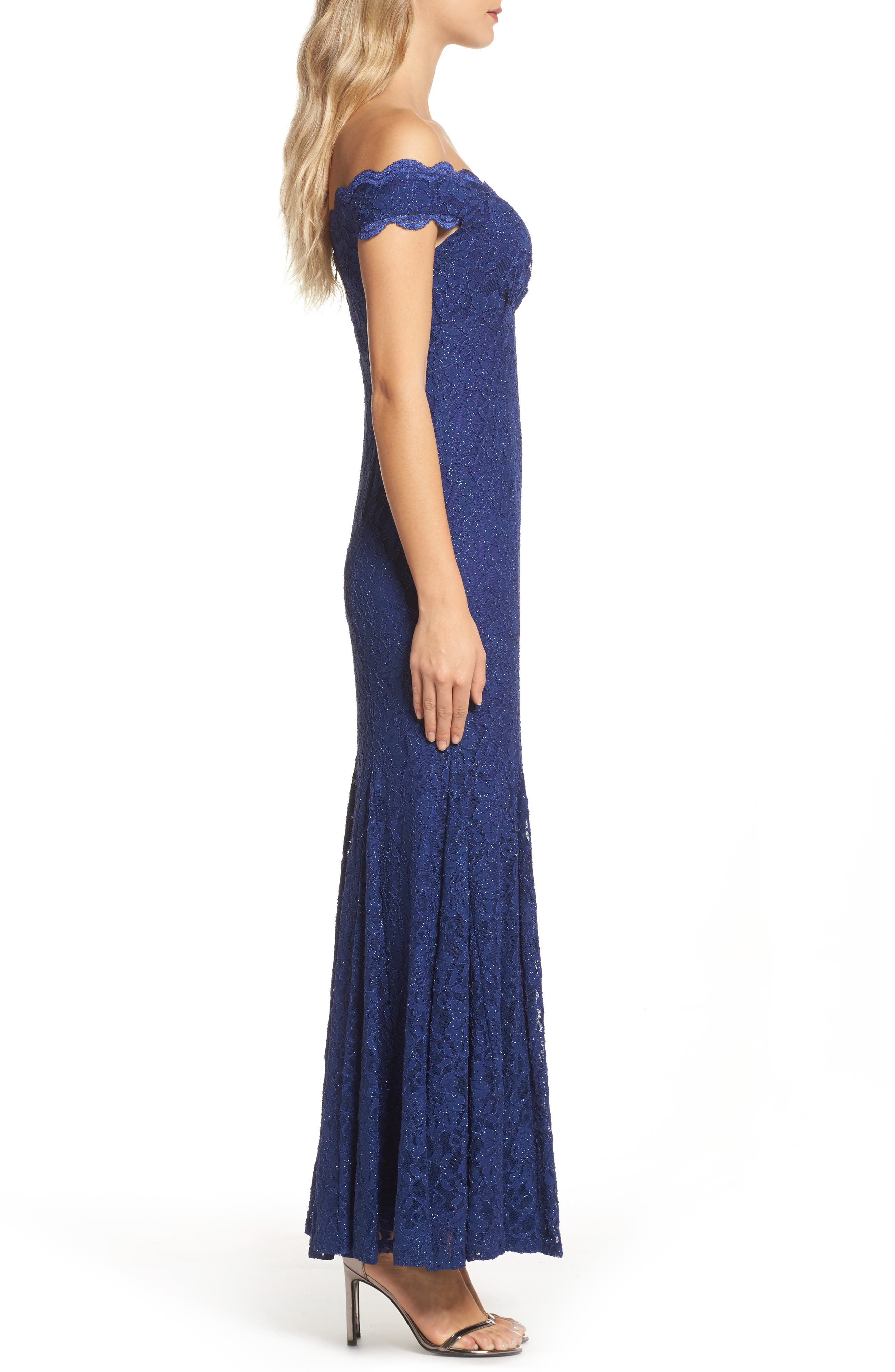Alternate Image 3  - Morgan & Co. Scallop Off the Shoulder Lace Gown