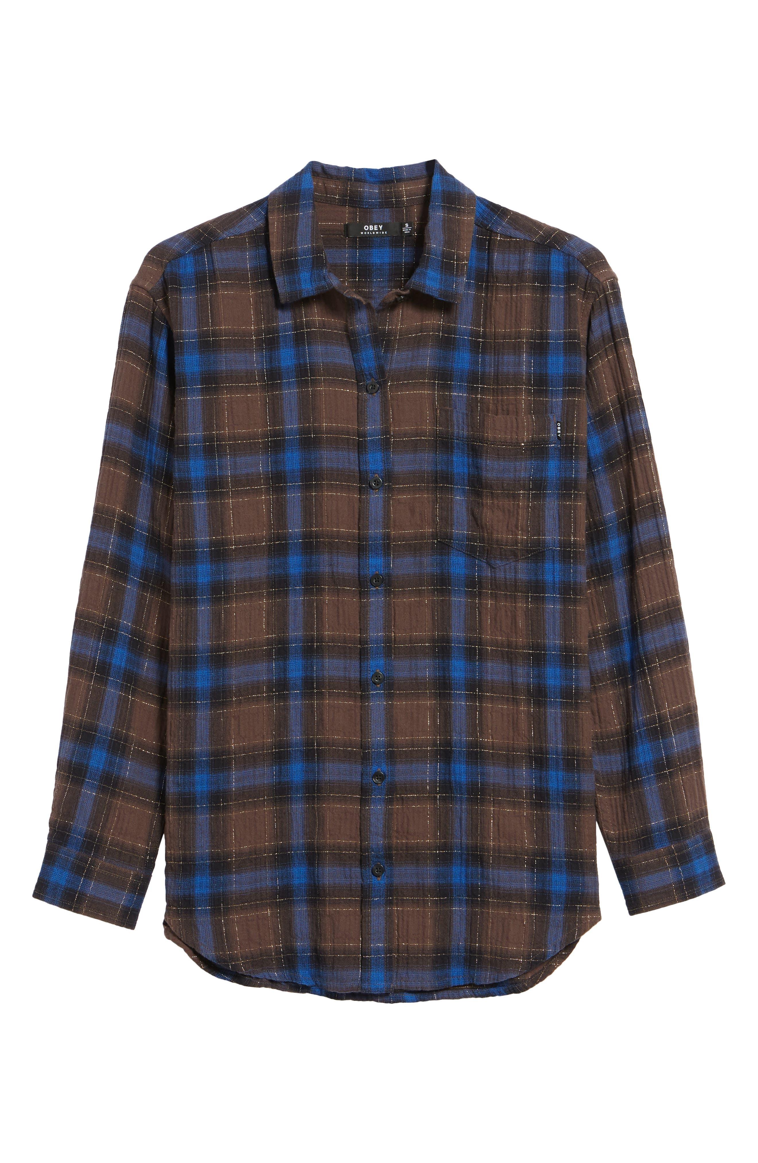 Eldorado Plaid Shirt,                             Alternate thumbnail 6, color,                             Brown Multi