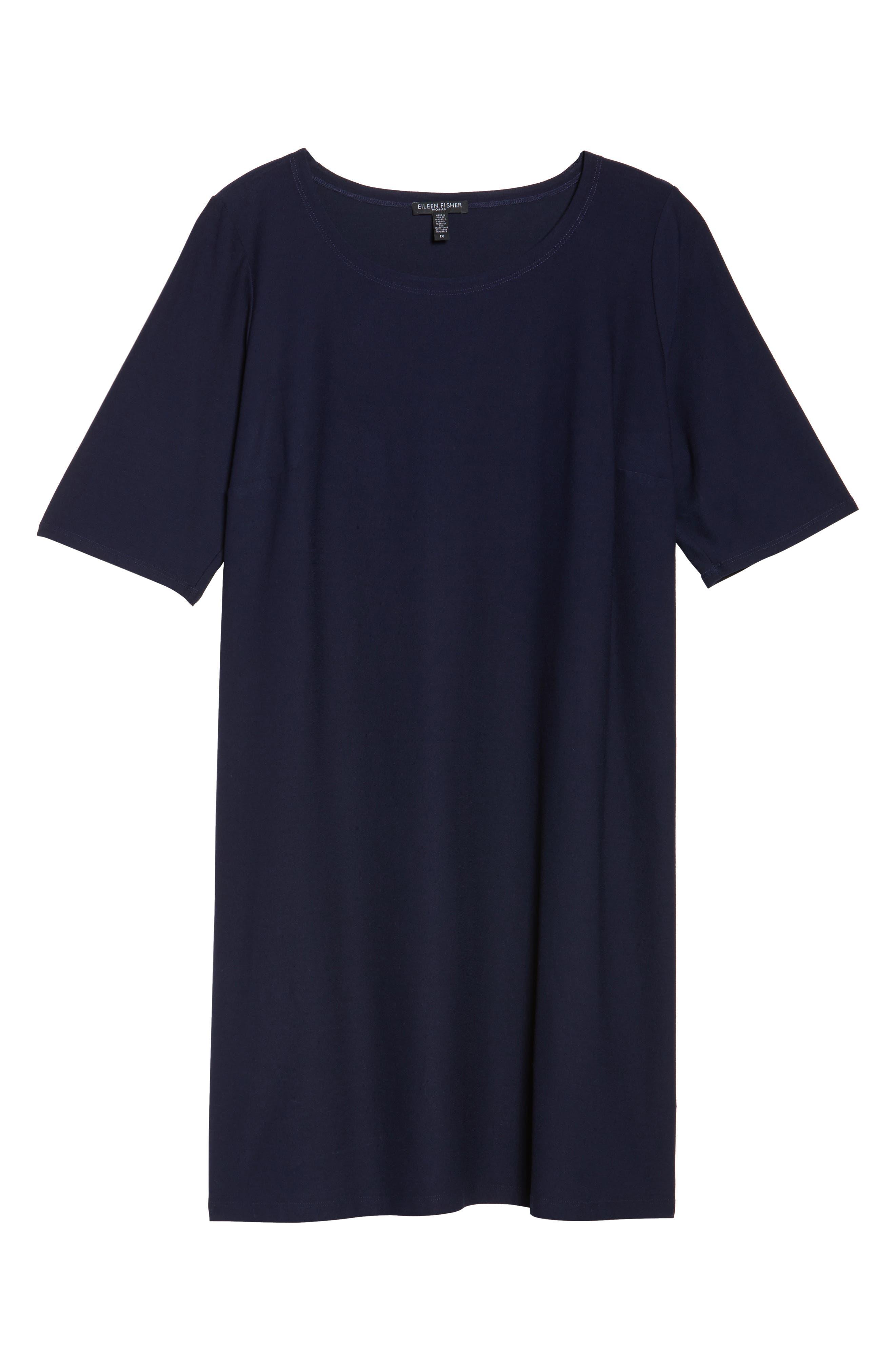 Alternate Image 6  - Eileen Fisher Side Zip Knit Shift Dress (Plus Size)