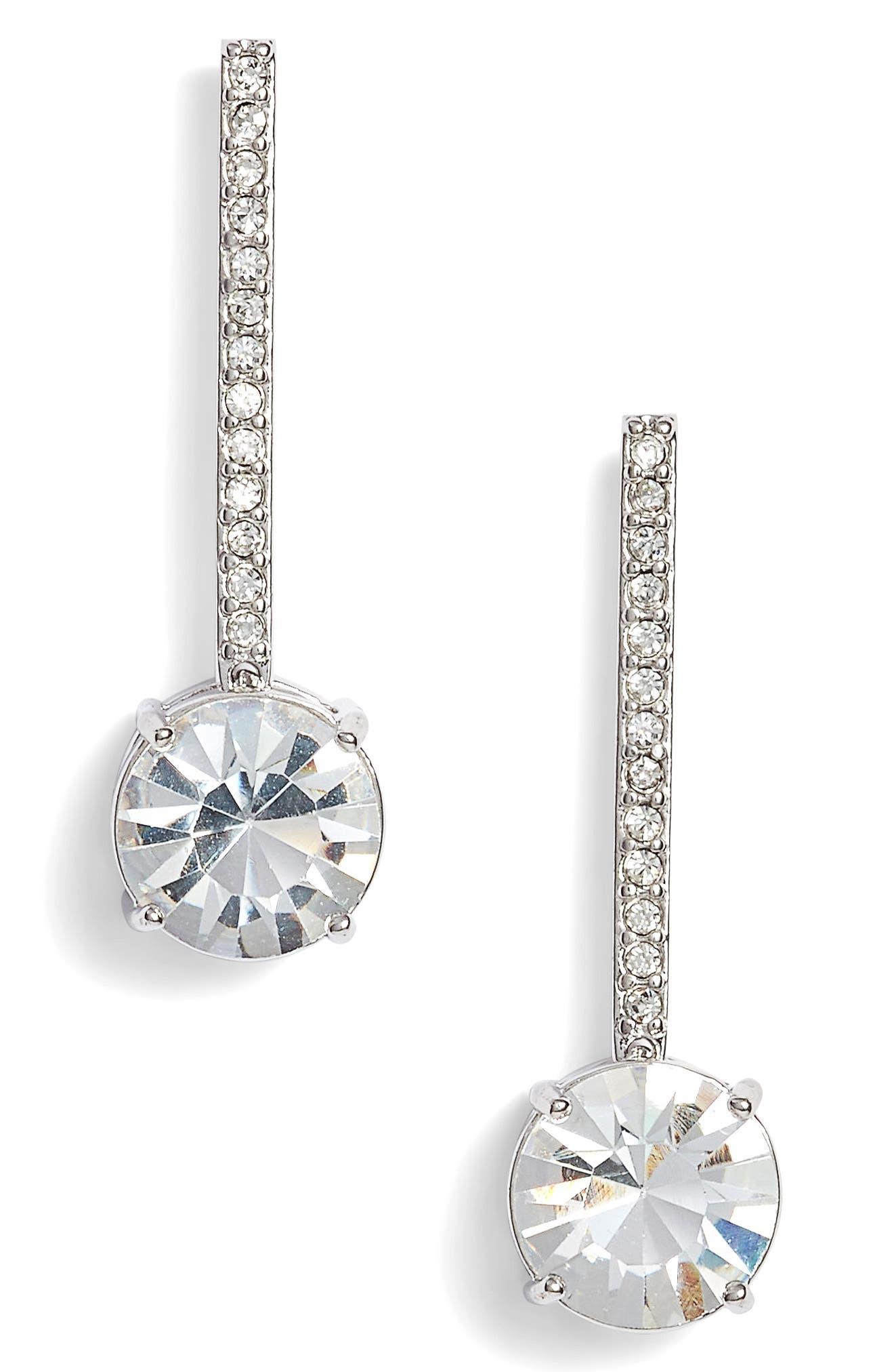 linear earrings,                         Main,                         color, Silver