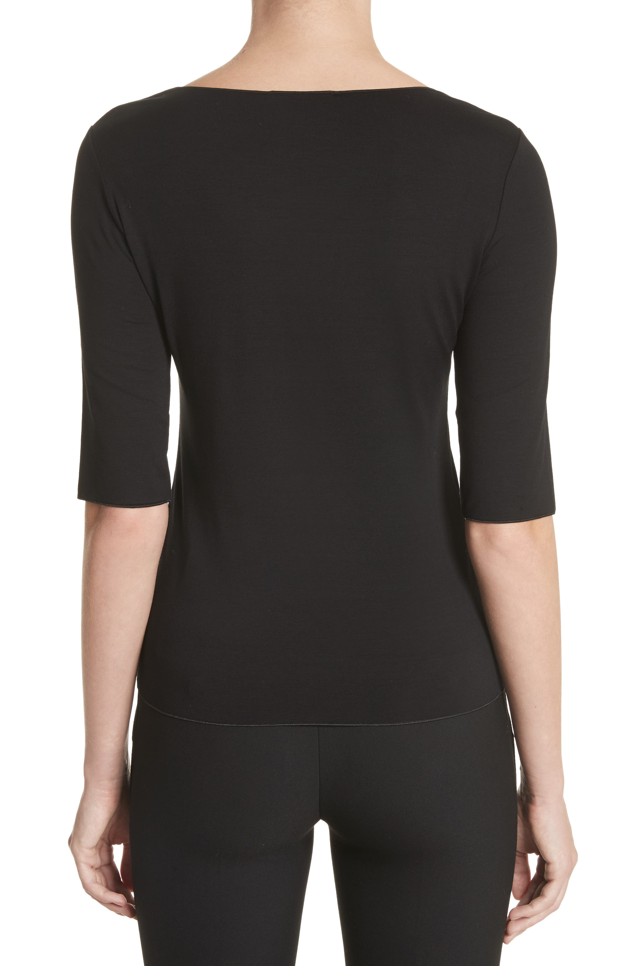 Stretch Knit Top,                             Alternate thumbnail 2, color,                             Black