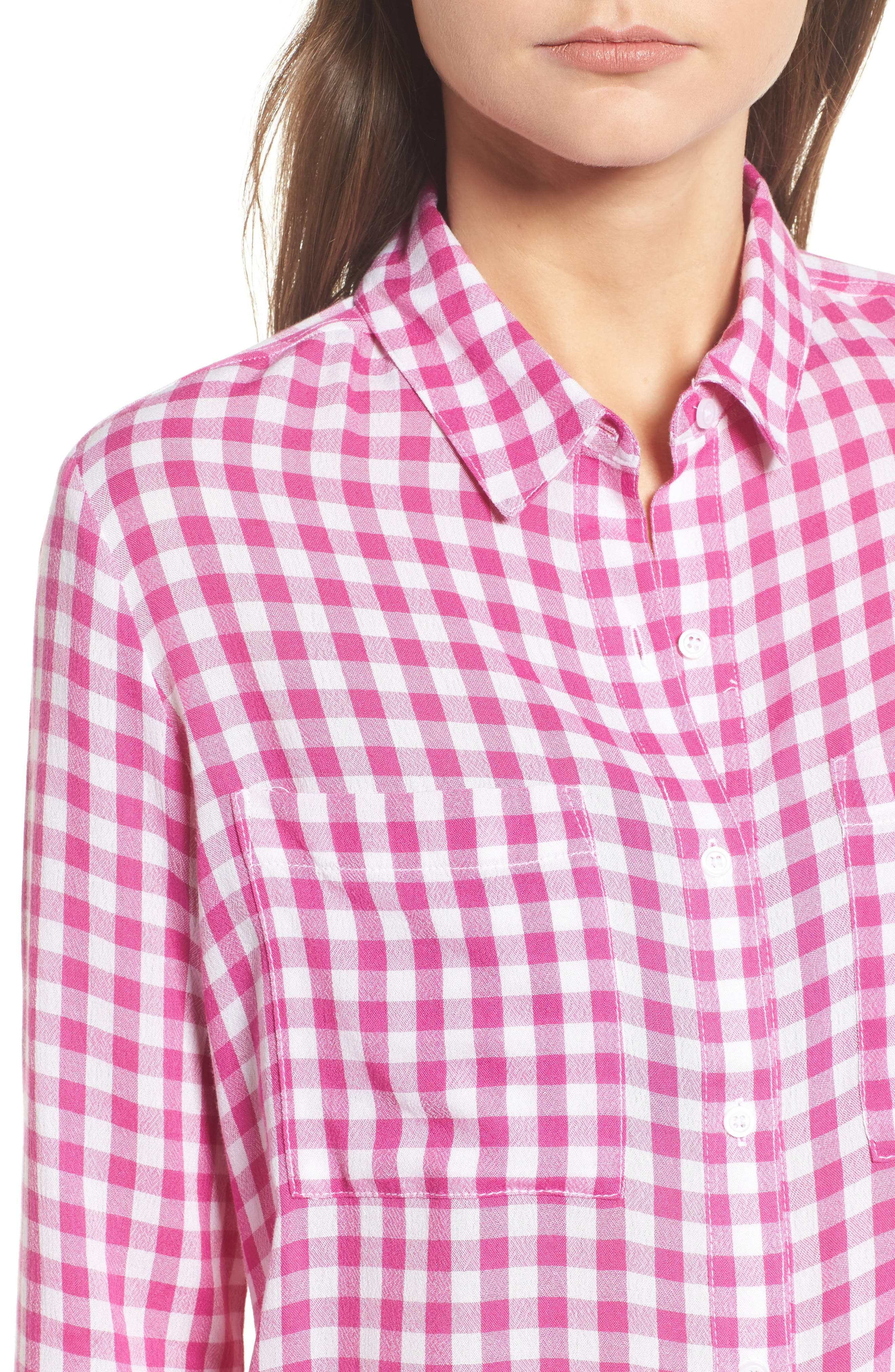 The Perfect Shirt,                             Alternate thumbnail 4, color,                             Pink Cyclamen Annette Check