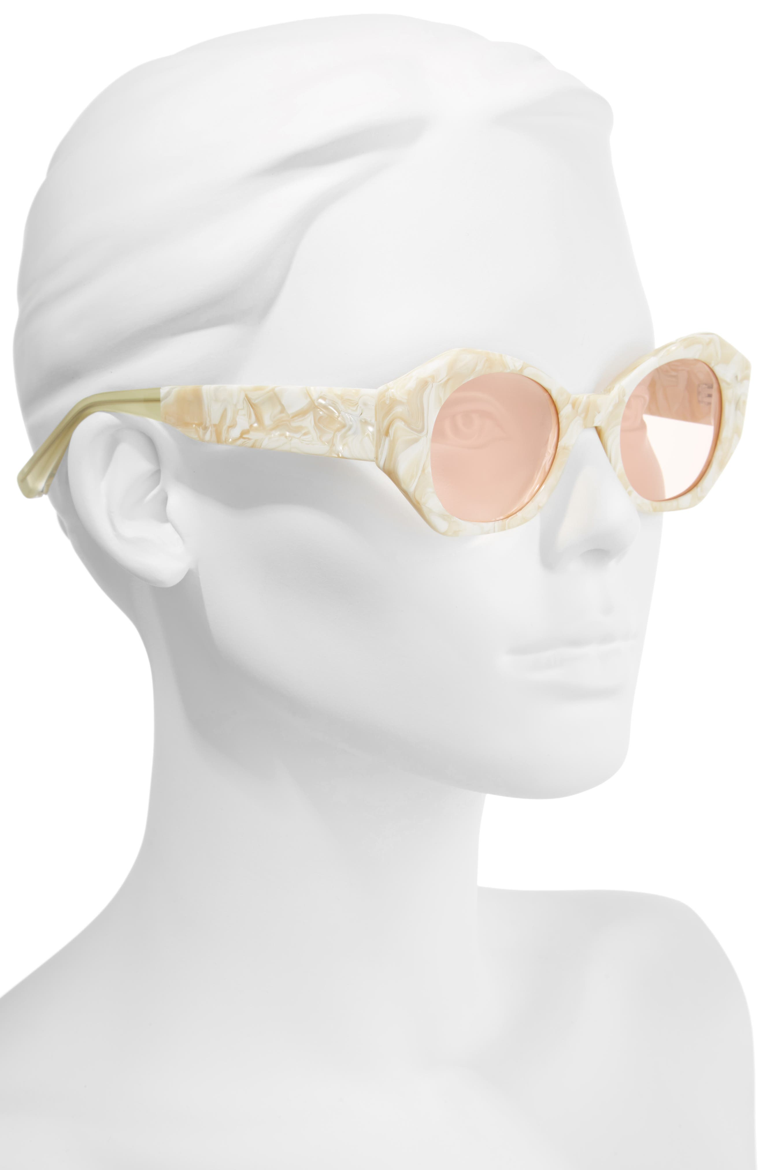 Huxley 46mm Geometric Sunglasses,                             Alternate thumbnail 2, color,                             White/ Pink