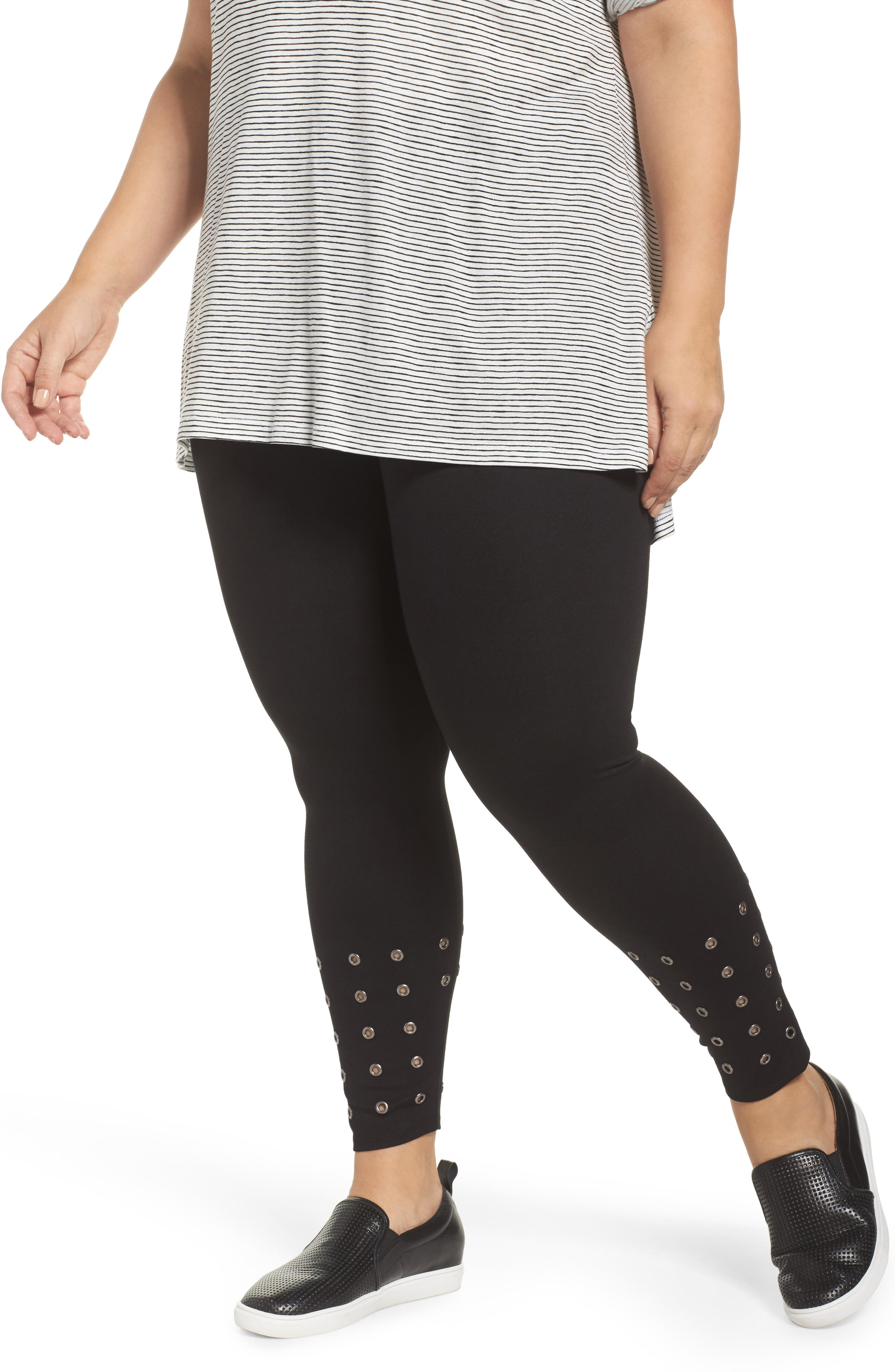 Lyssé Grommet Embellished Ponte Leggings (Plus Size)