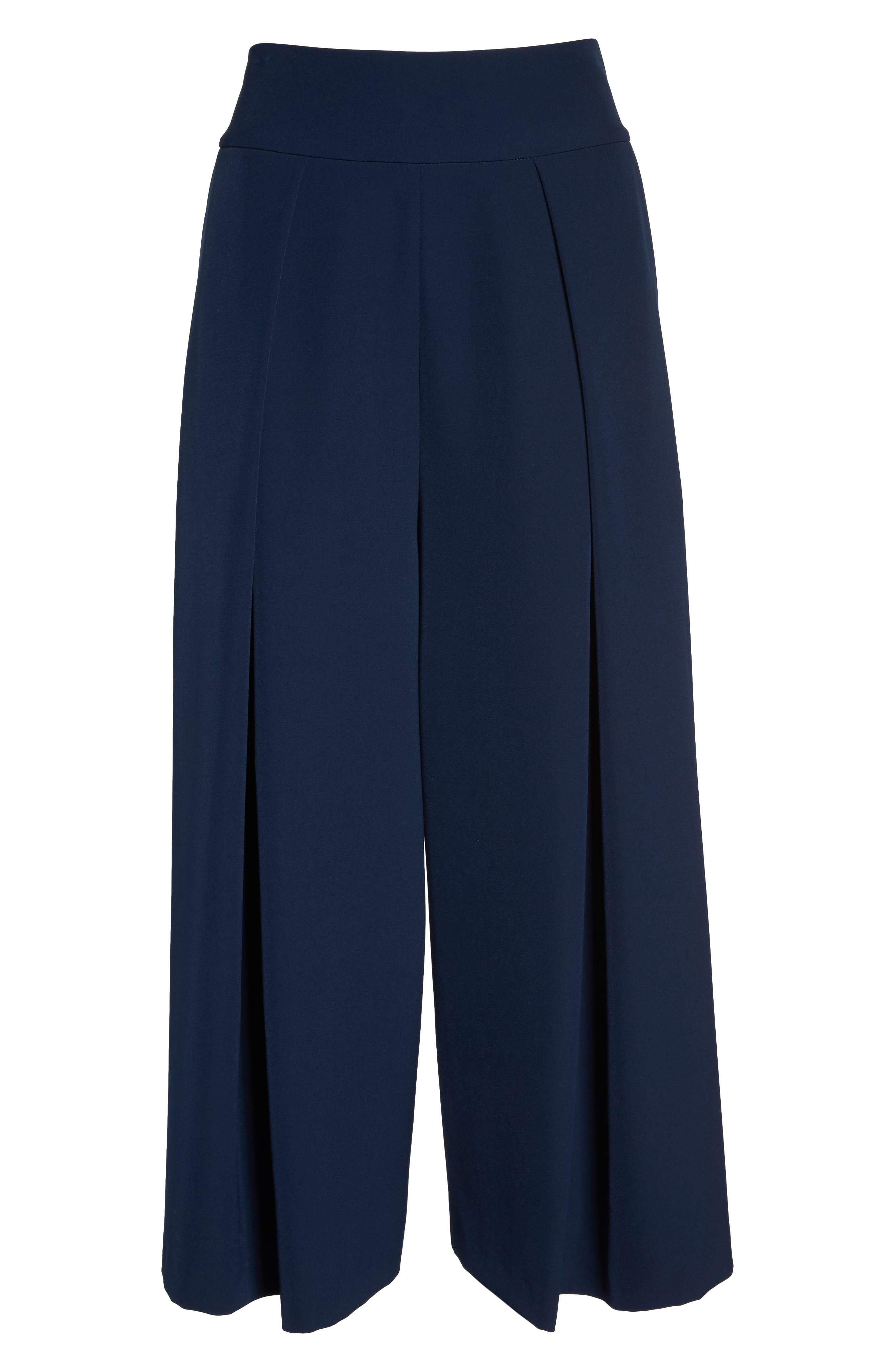 Pleated Wide Leg Pants,                             Alternate thumbnail 6, color,                             Navy