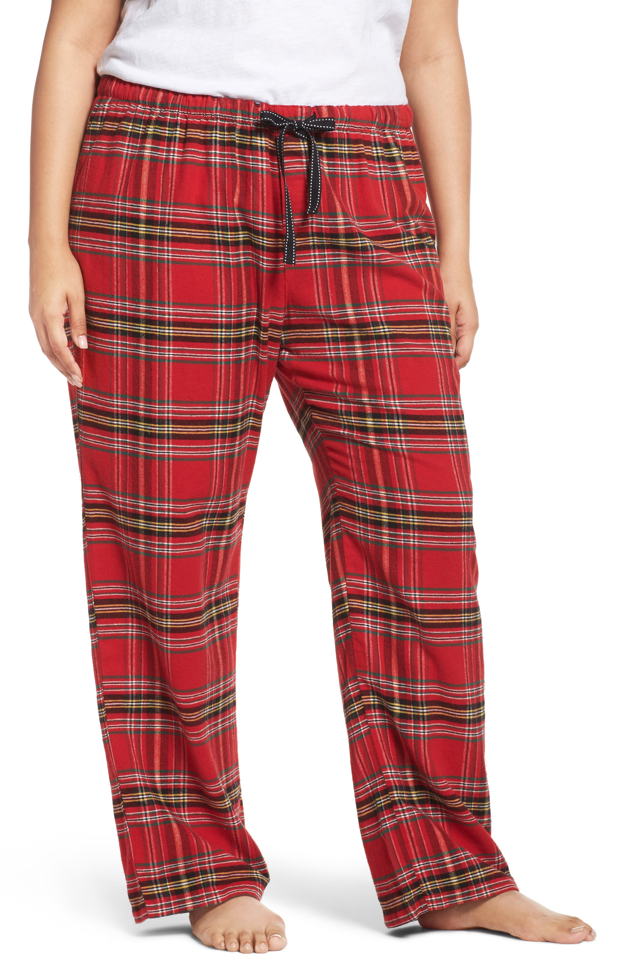 Plaid Flannel Pajama Pants,                         Main,                         color, Brick