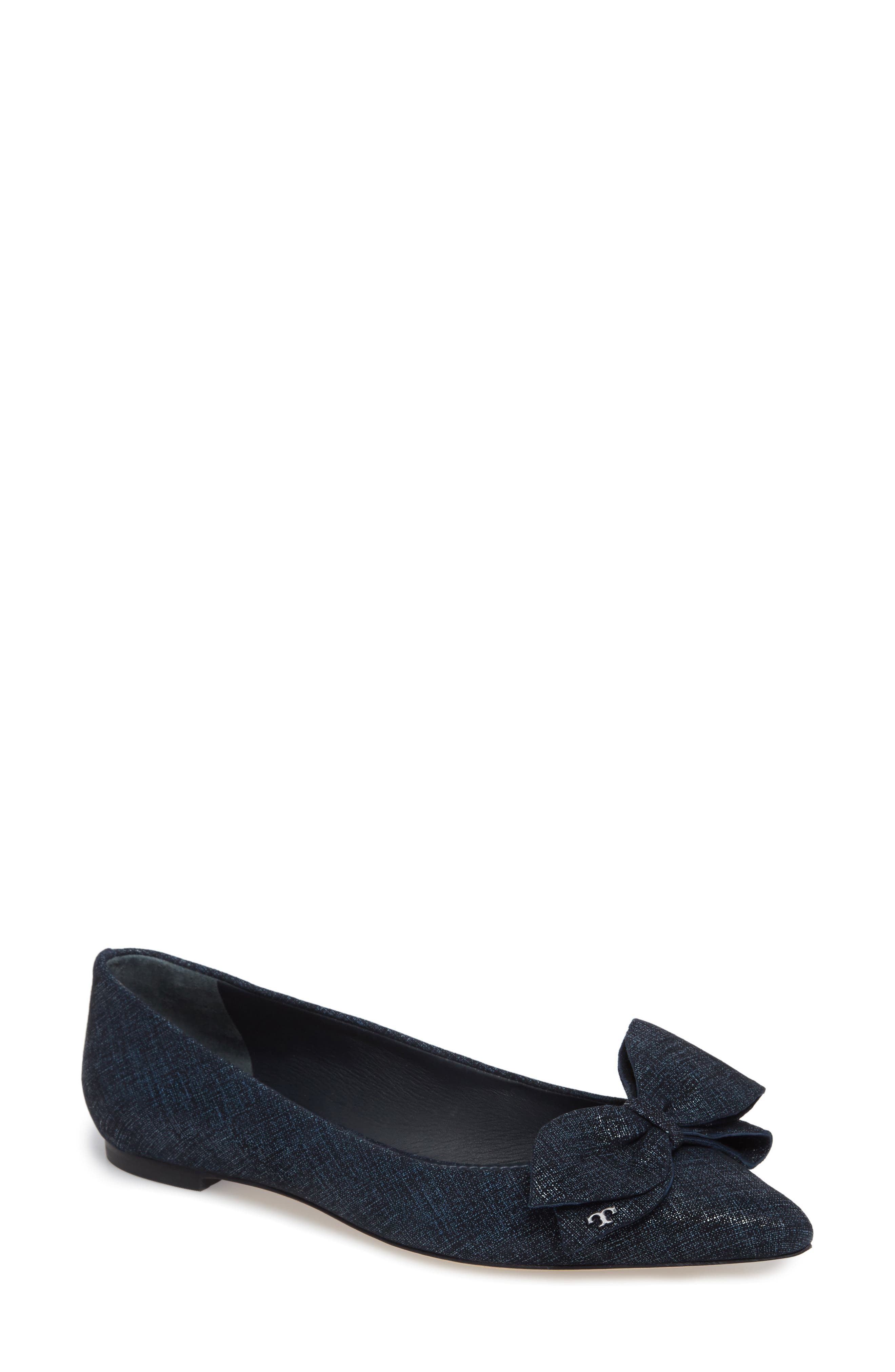 Main Image - Tory Burch Rosalind Bow Pointy Toe Flat (Women)