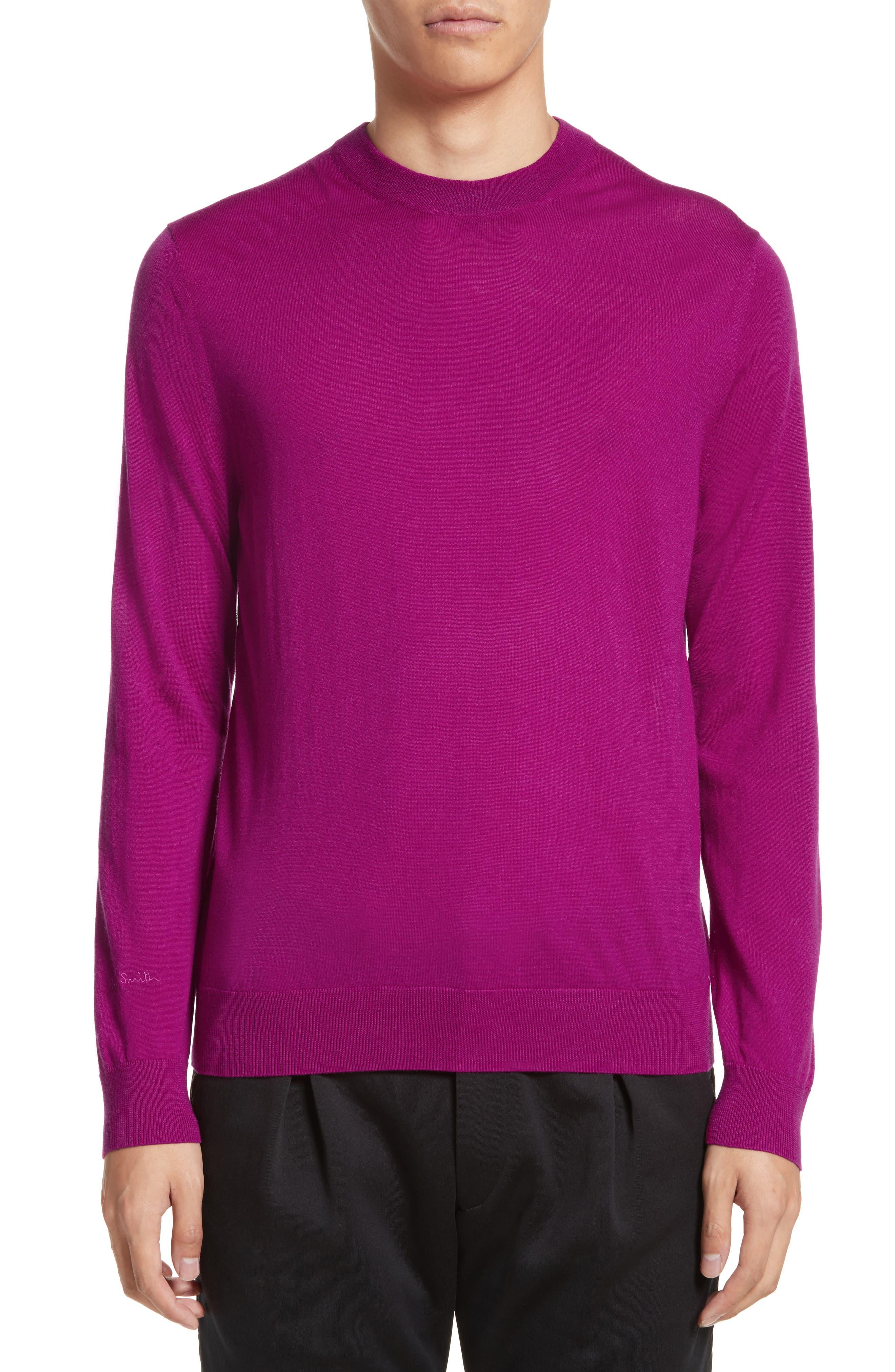 Merino Wool Crewneck Sweater,                         Main,                         color, Purple