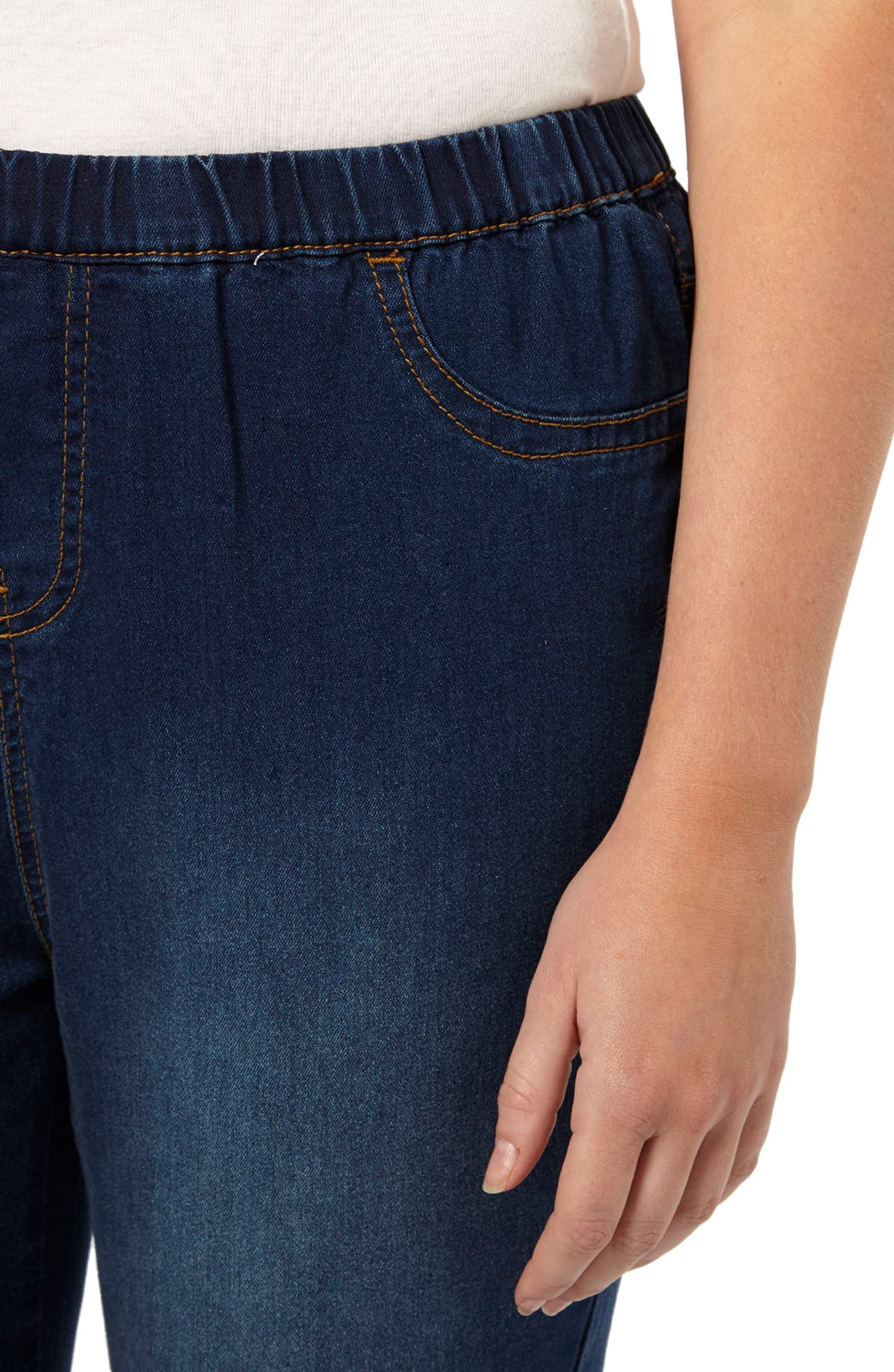 Denim Leggings,                             Alternate thumbnail 4, color,                             Mid Wash