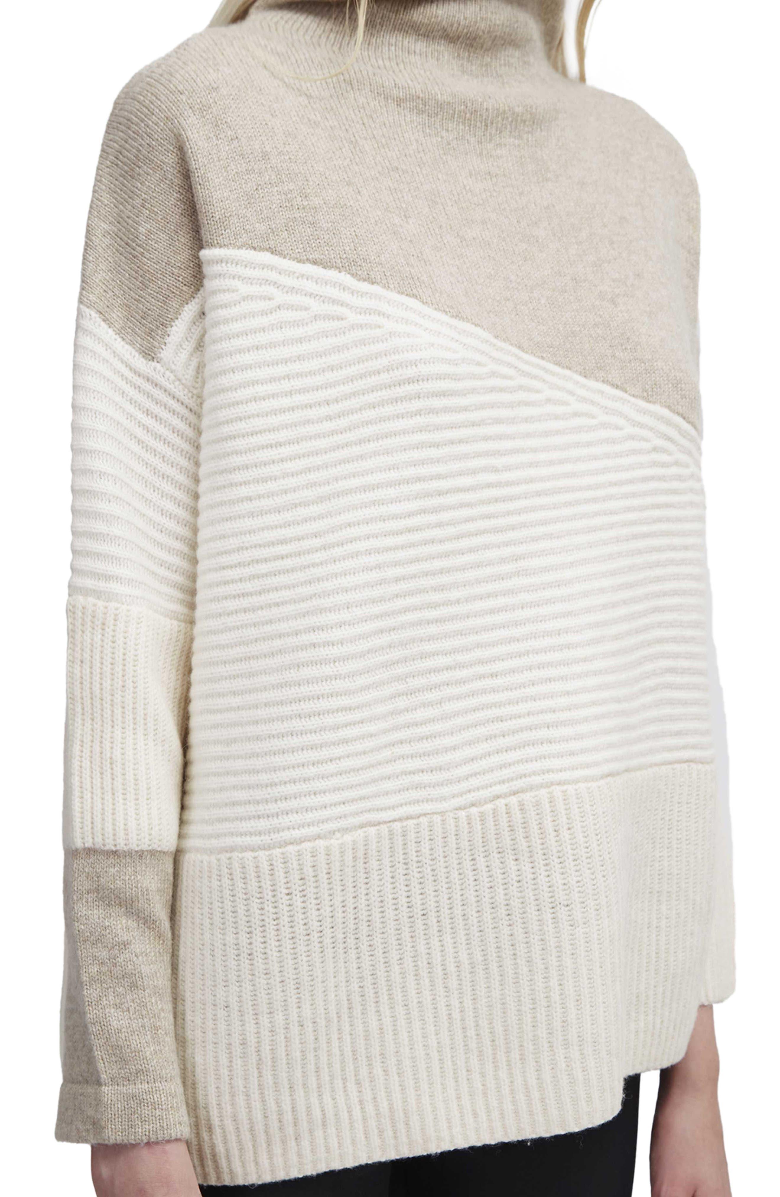 Patchwork Mock Neck Sweater,                             Alternate thumbnail 3, color,                             Classic Cream
