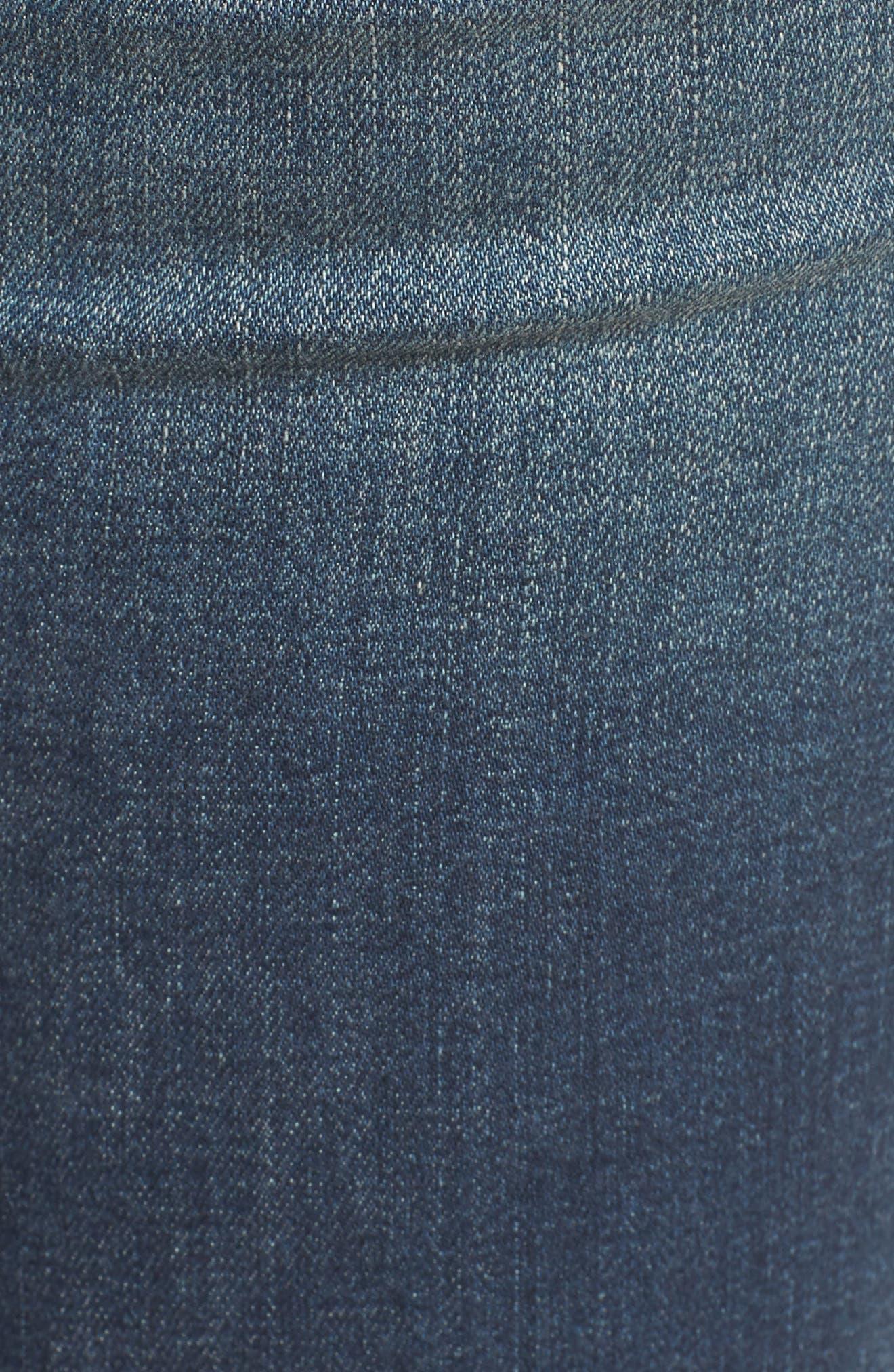 Ripped Raw Hem Skinny Jeans,                             Alternate thumbnail 6, color,                             Medium Dark