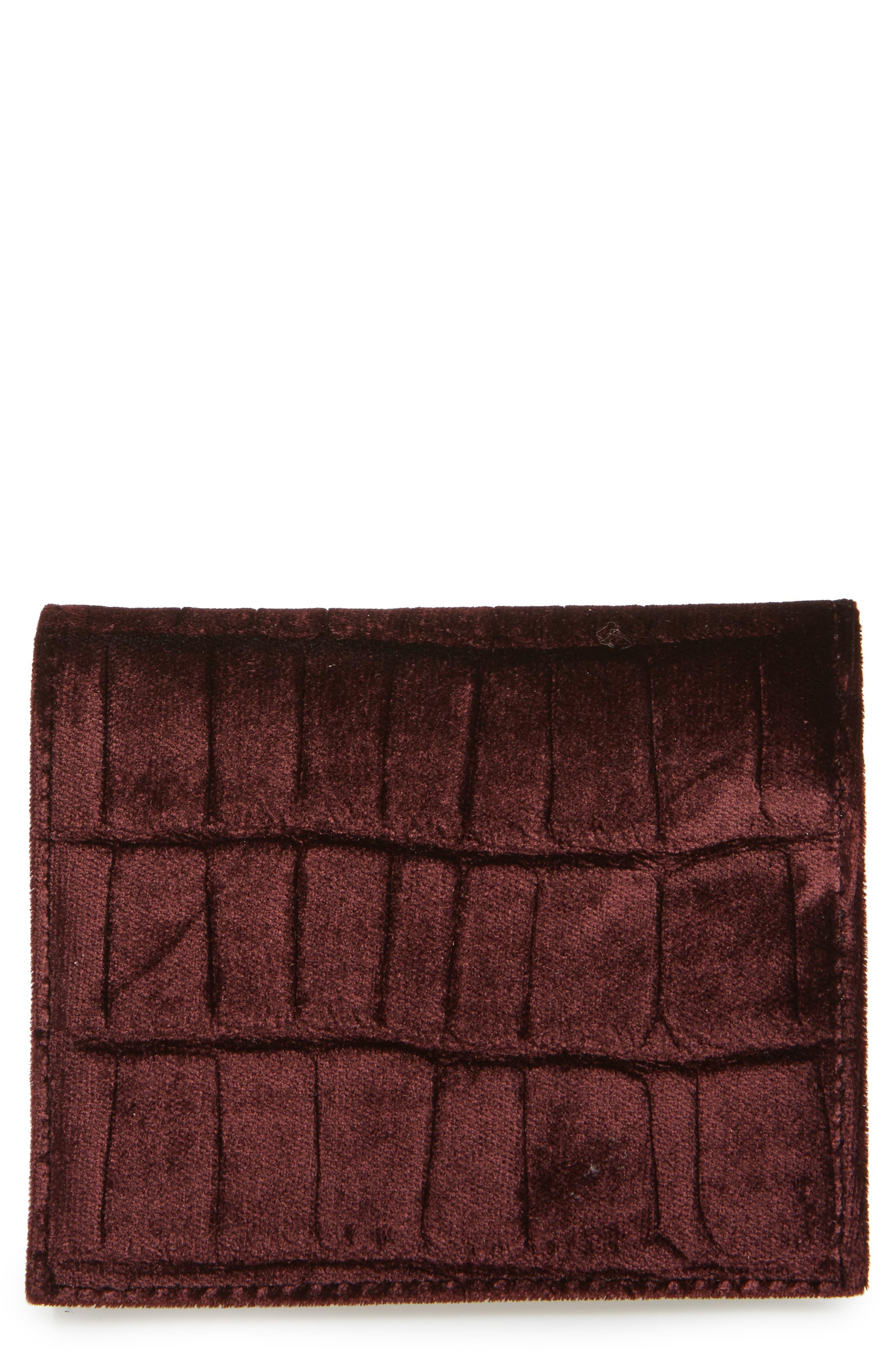 Small Keel Croc Embossed Velvet Wallet,                             Main thumbnail 1, color,                             Burgundy Red